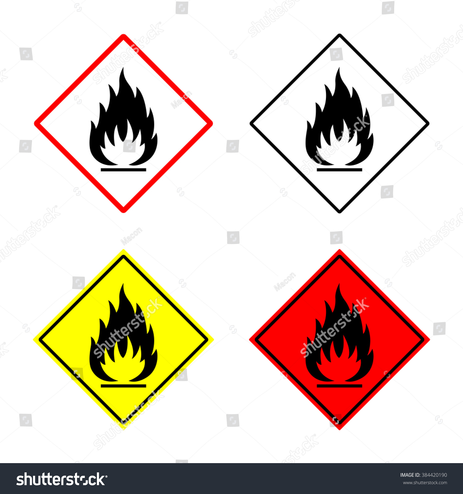 Flammable sign symbol placed rhomb fire stock vector 384420190 flammable sign or symbol placed in rhomb fire hazard emblem isolated on white background biocorpaavc Gallery