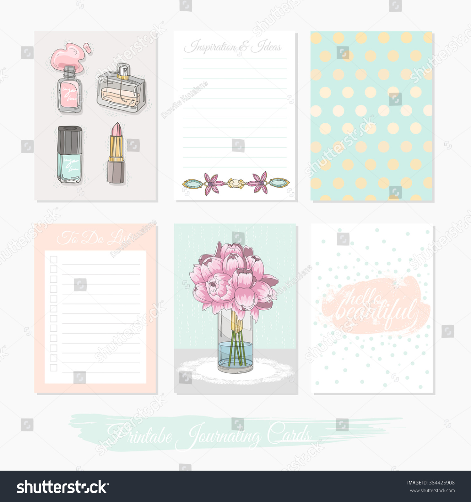 Printable cute set of filler cards with flowers makeup jewelry and beauty accessories Vector templates for planner planner planner planner planner planner planner planner planner planner