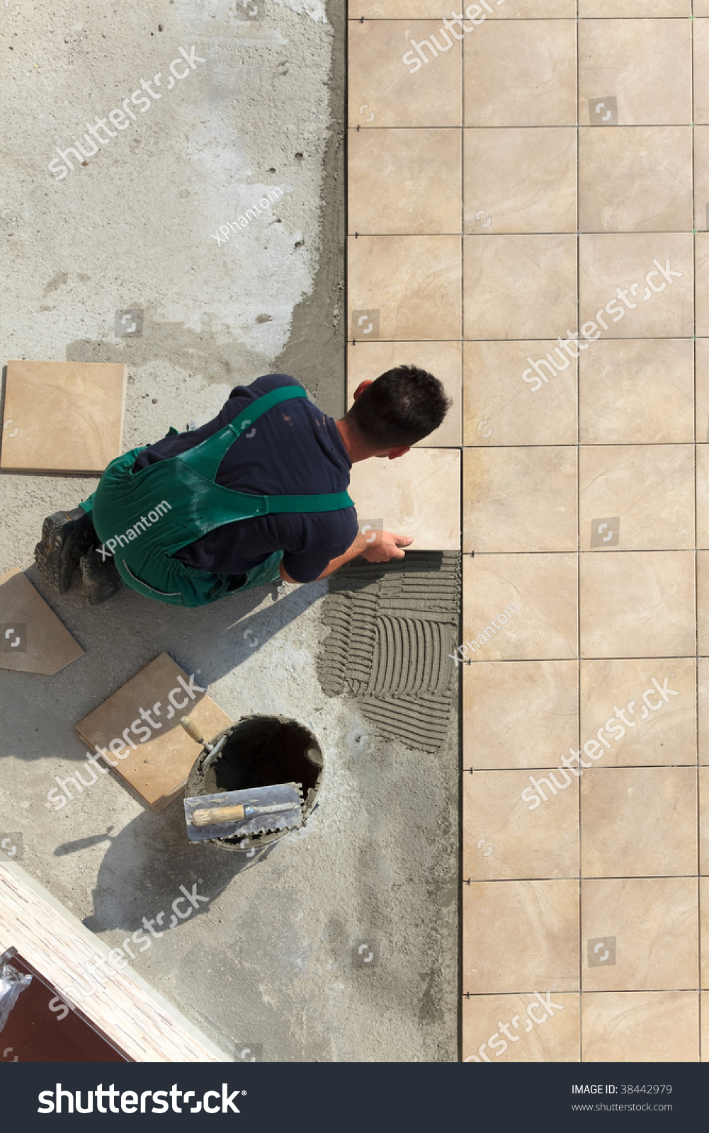 Floor Tiles Installation Man Installs Ceramic Stock Photo Edit Now