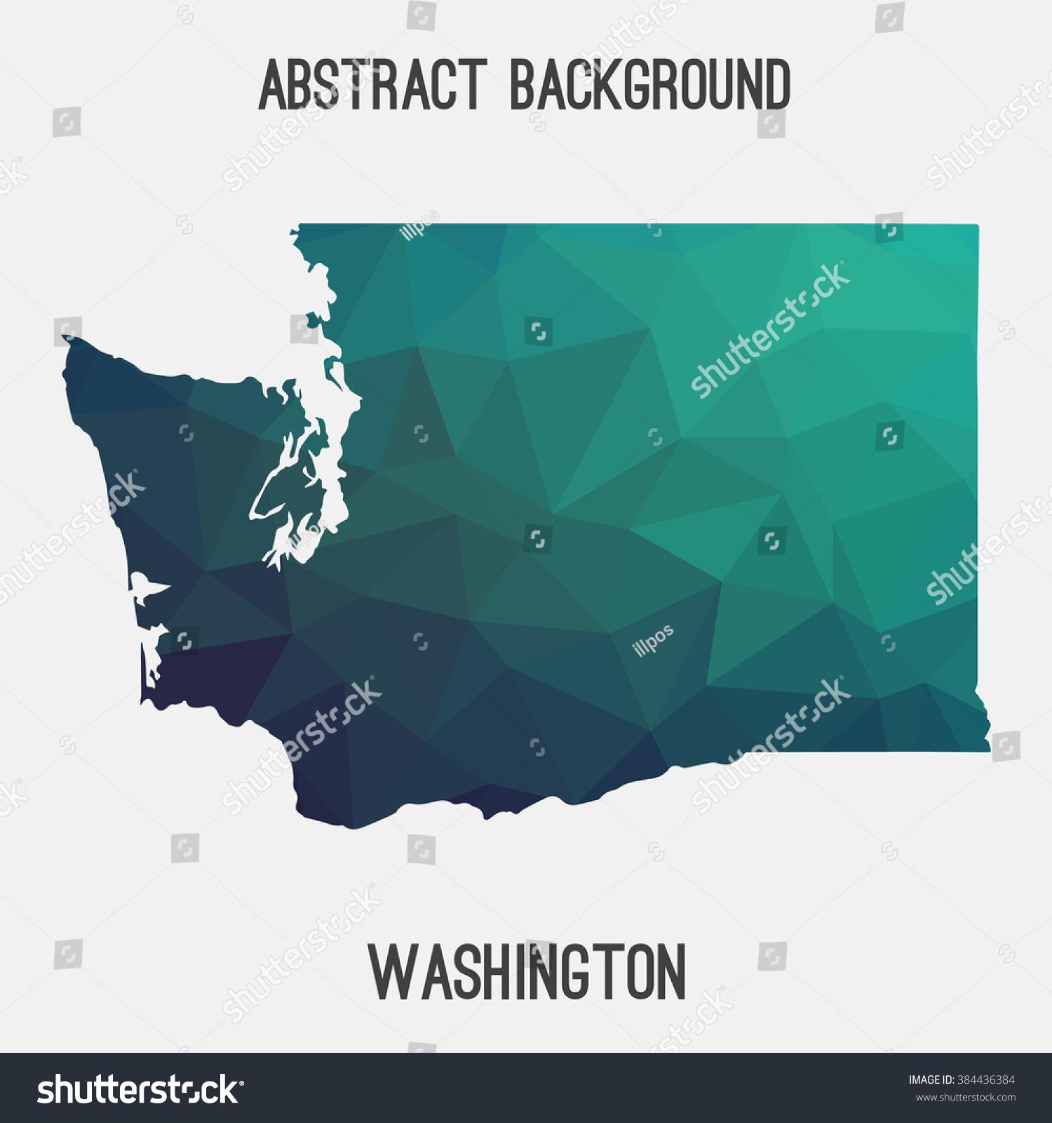 Washington State Map Geometric Polygonal Style Abstract Stock ...