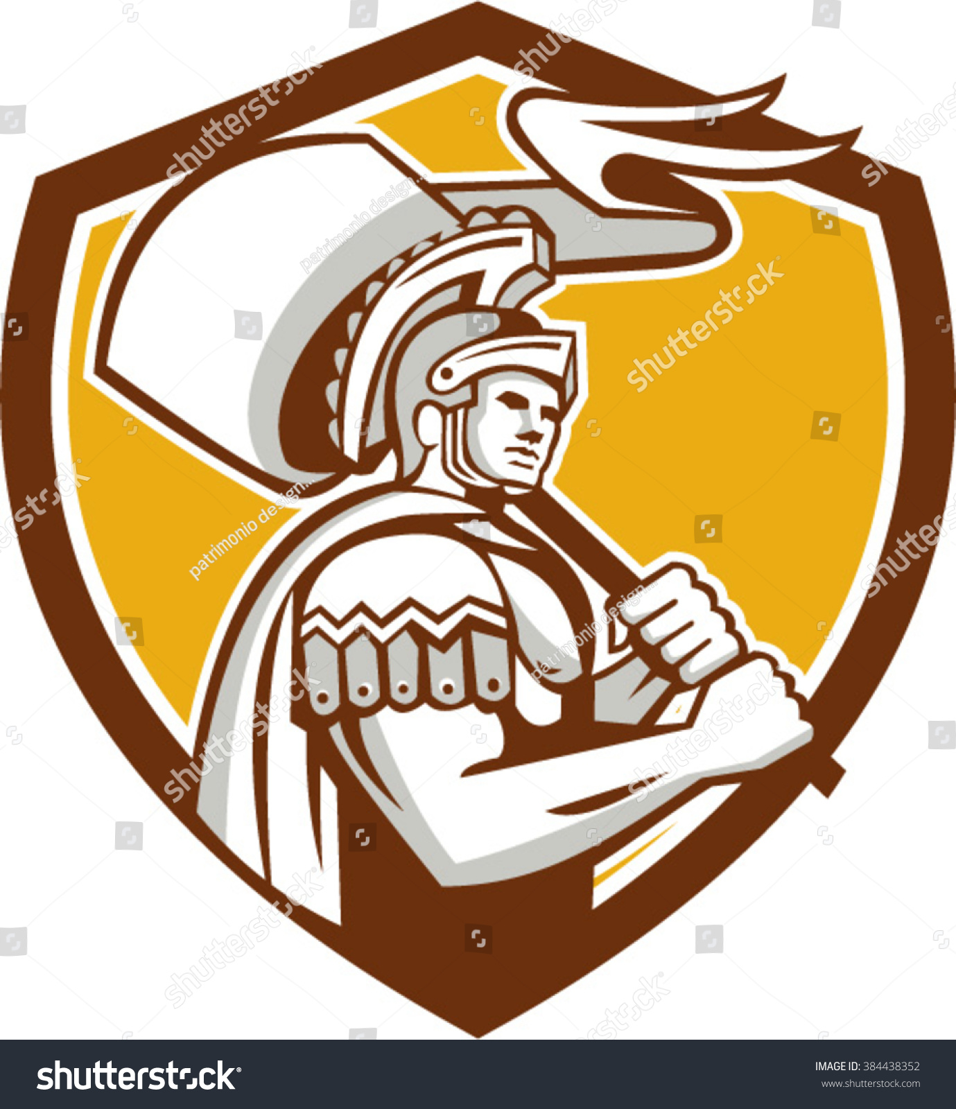 illustration centurion roman soldier gladiator carrying stock