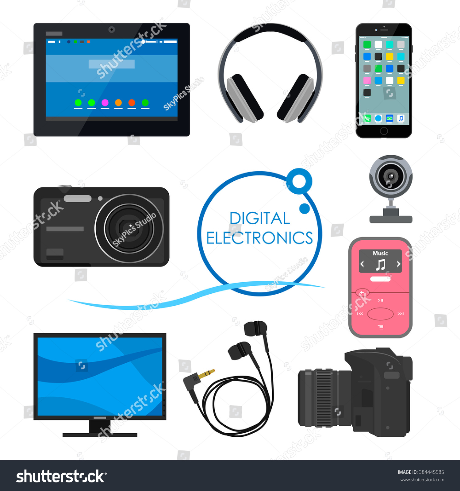 Set Gadgets Consumer Electronic Devices Vector Stock Vector Royalty