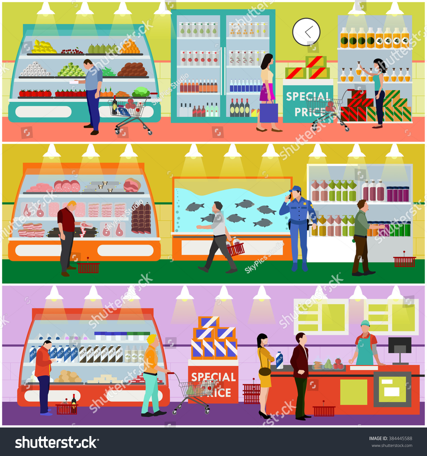 Supermarket Interior Vector Illustration In Flat Style Customers Buy Products In Food Store