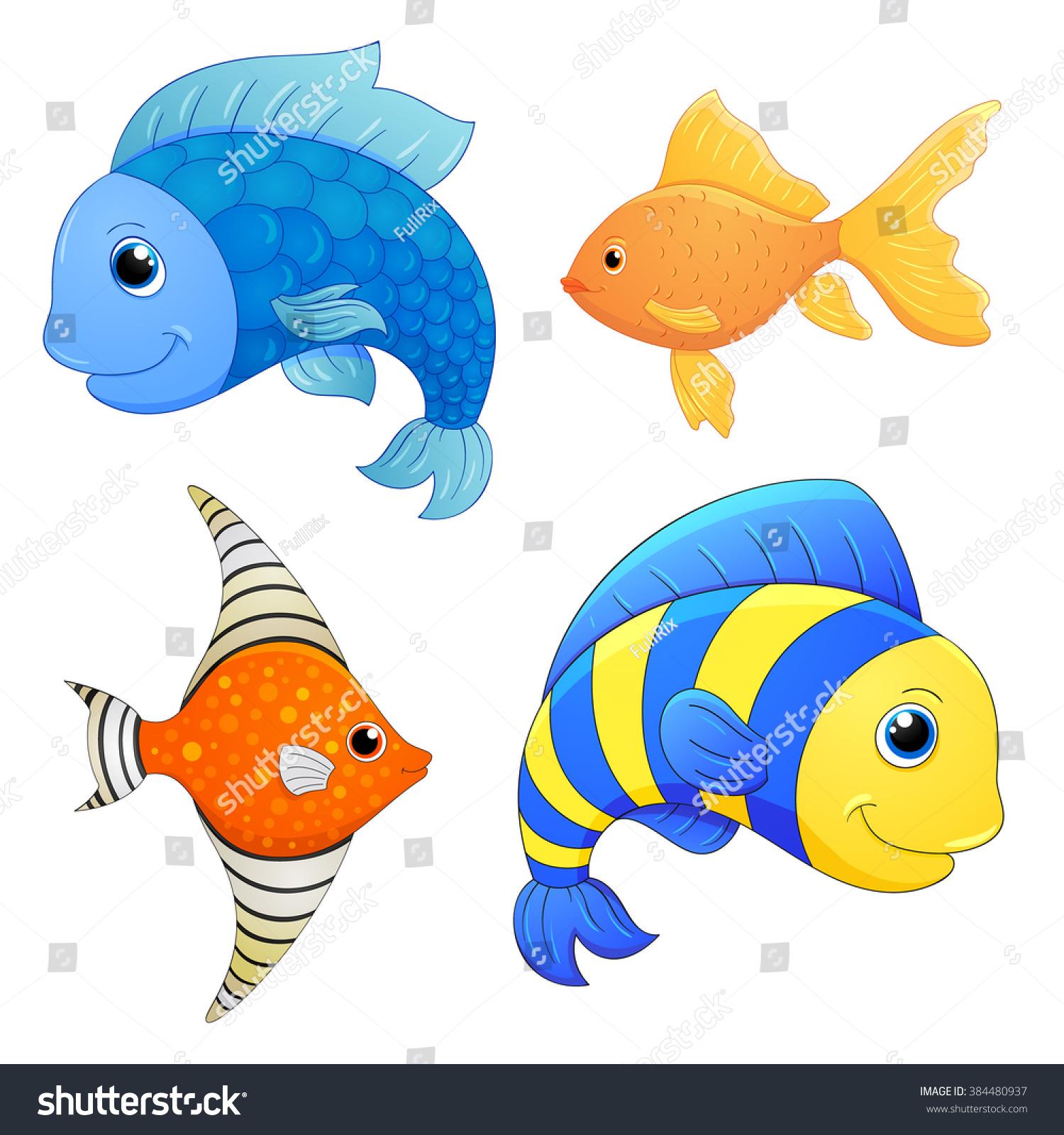 Sea Fishes Set Cartoon Cute Characters Stock Vector