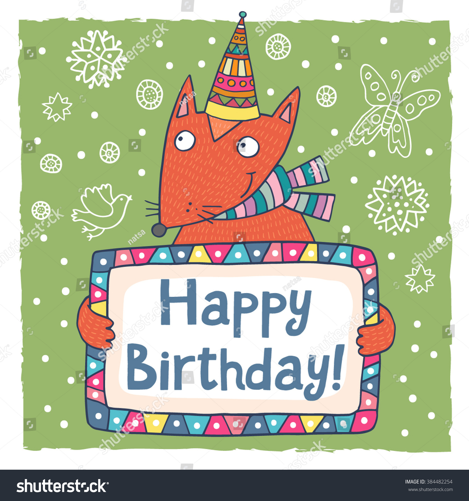 Cute Happy Birthday Greeting Card Template Stock Vector