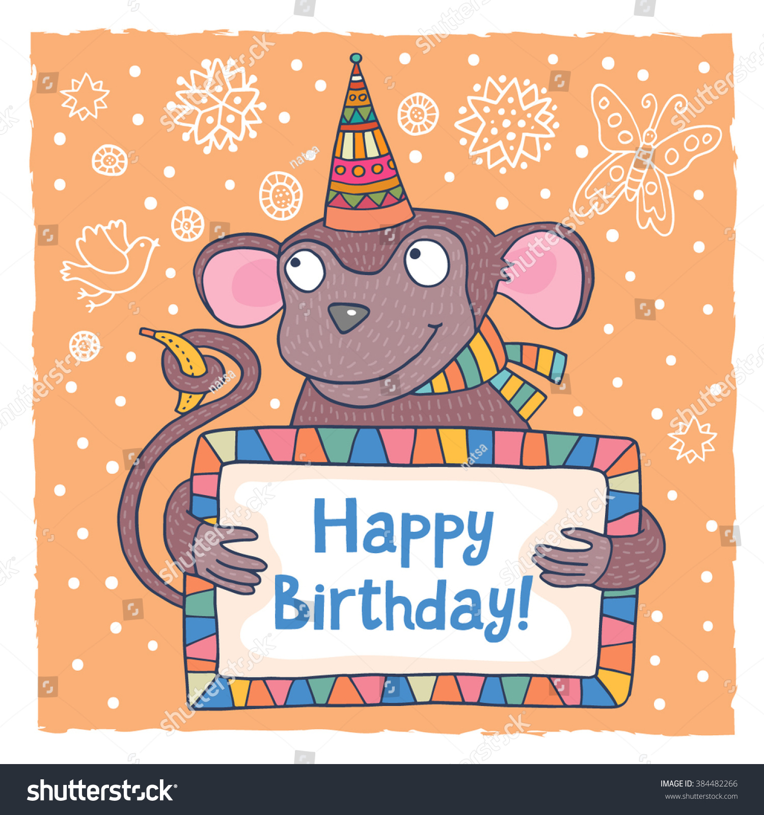 Cute Happy Birthday Greeting Card Template Stock Vector Hd Royalty