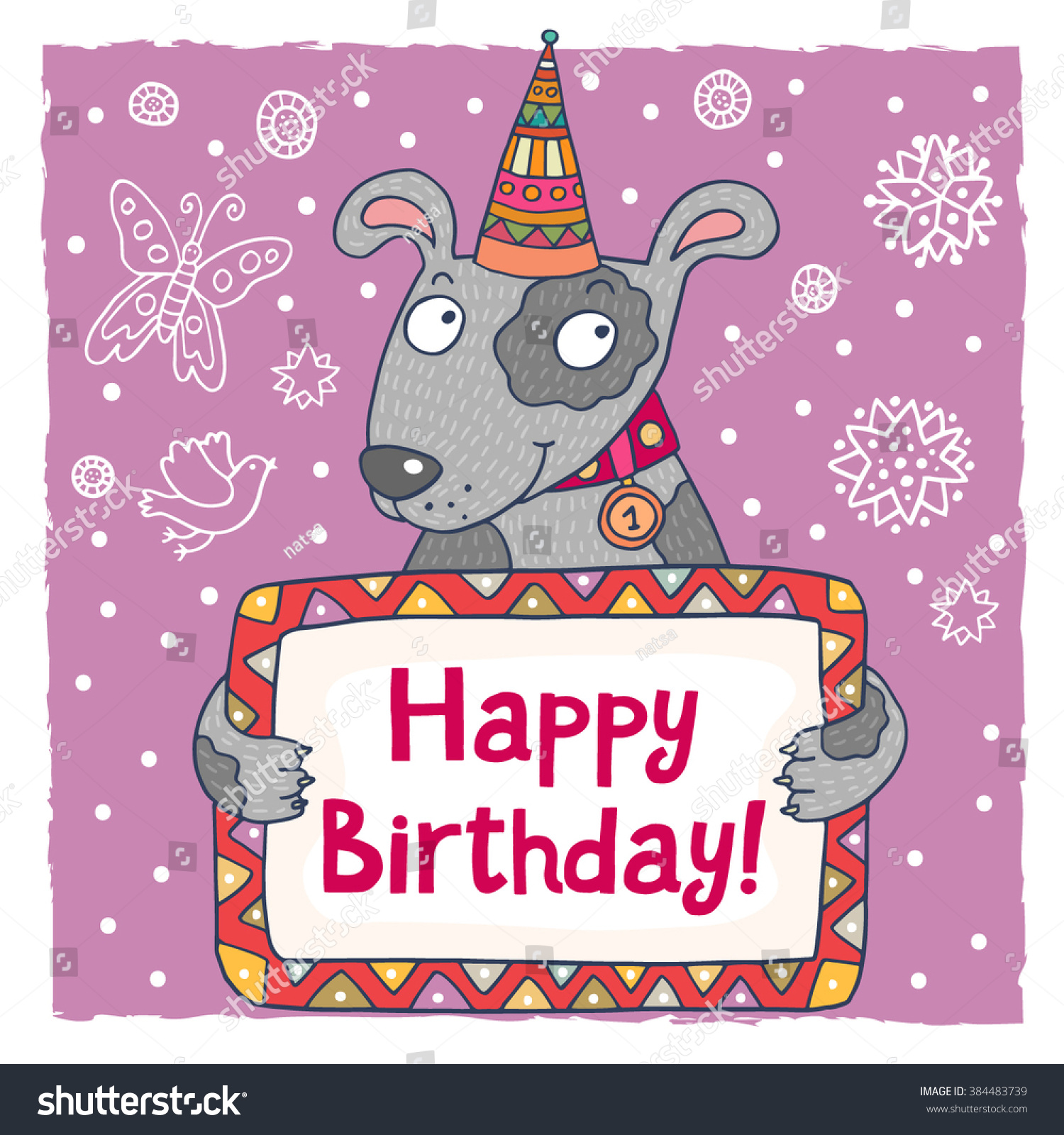 Cute happy birthday greeting card template stock vector 384483739 cute happy birthday greeting card template with a cartoon dog kristyandbryce Images