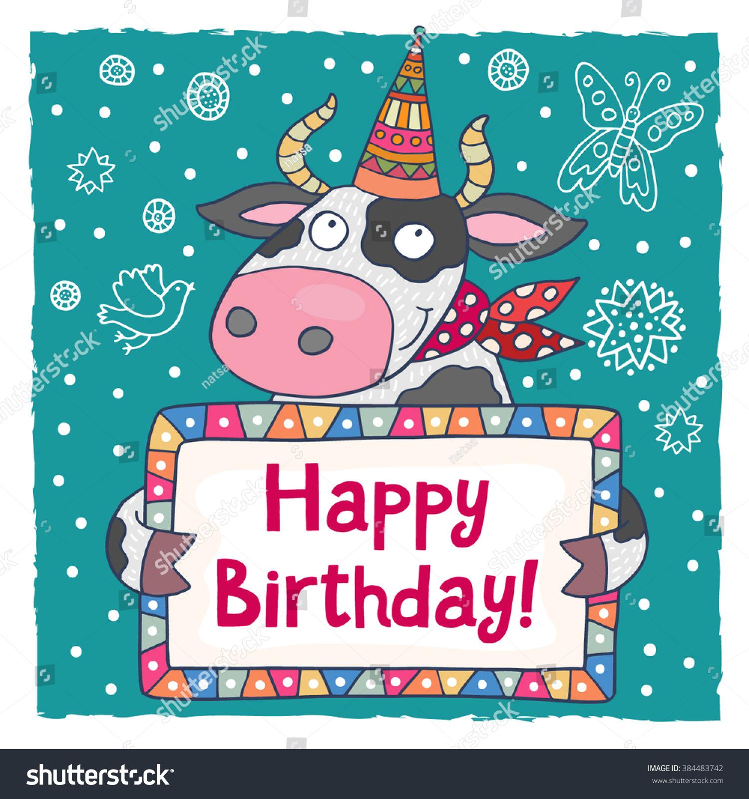 Cute Happy Birthday Greeting Card Template Vector 384483742 – Template Happy Birthday Card