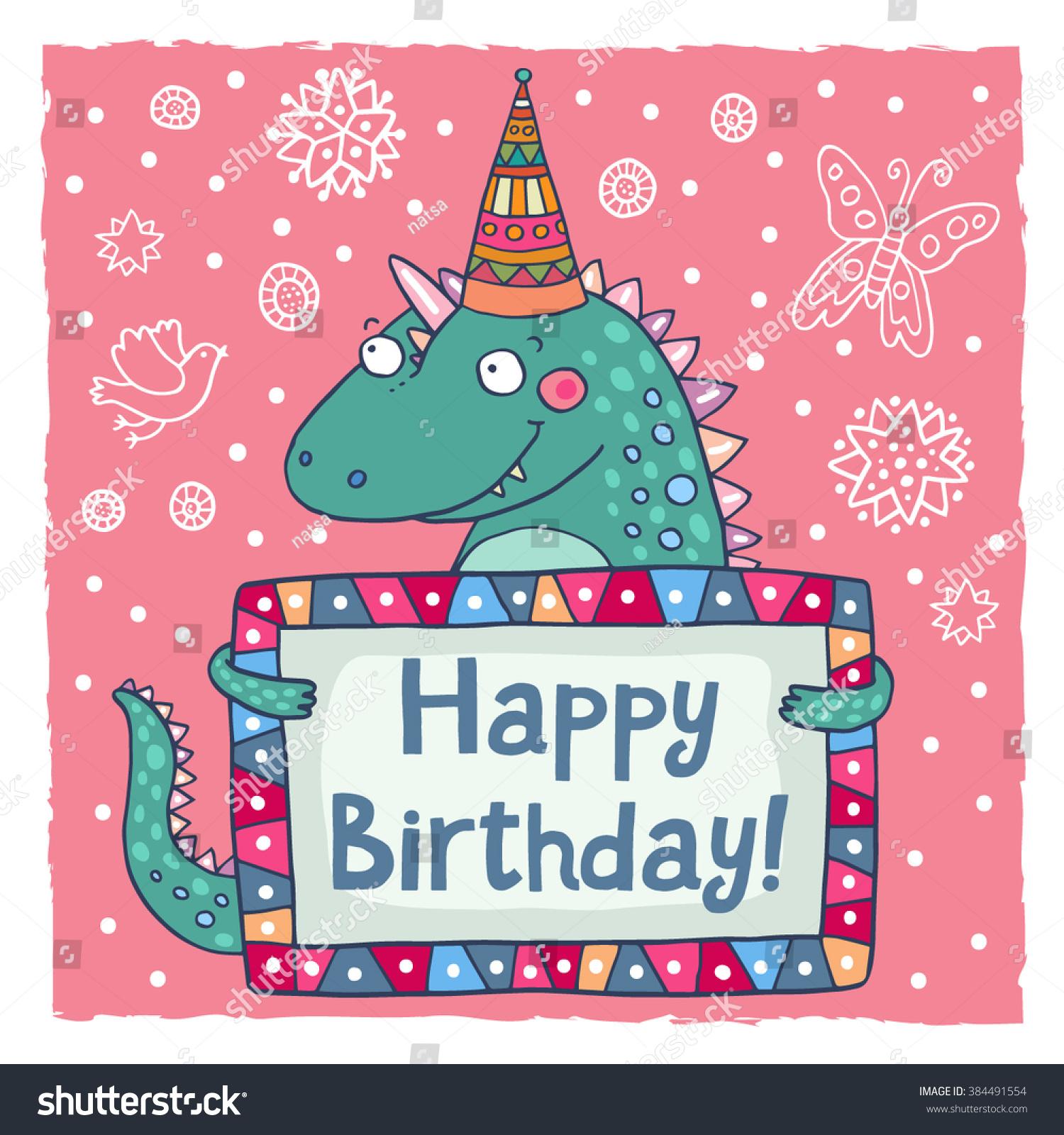 Cute Happy Birthday Greeting Card Template With A Cartoon Dino – Happy Birthday Word Template