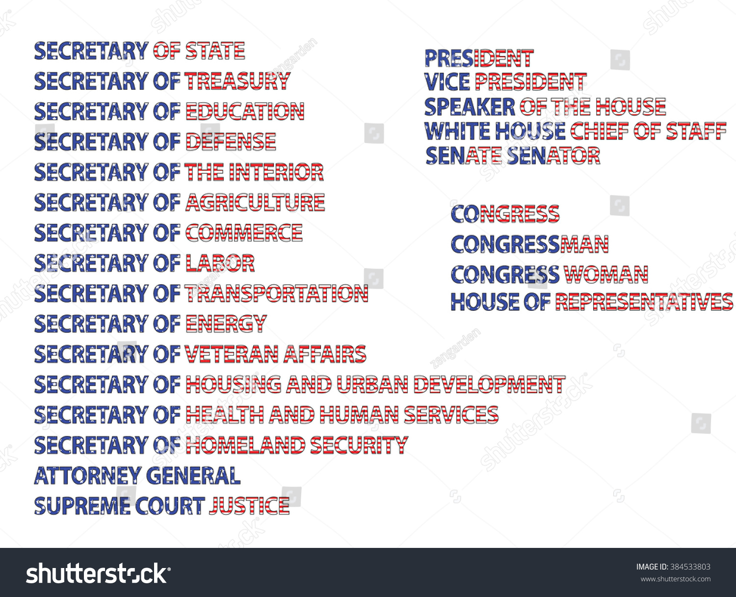 Us Political Office Titles Elected Appointed Stock Vector ...