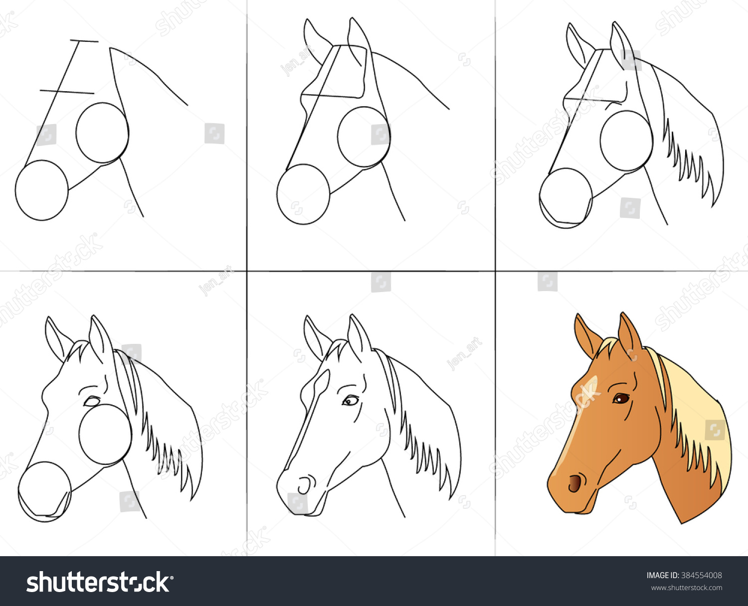 Six Steps Of Drawing A Horse Head From Line To Final Color Execution