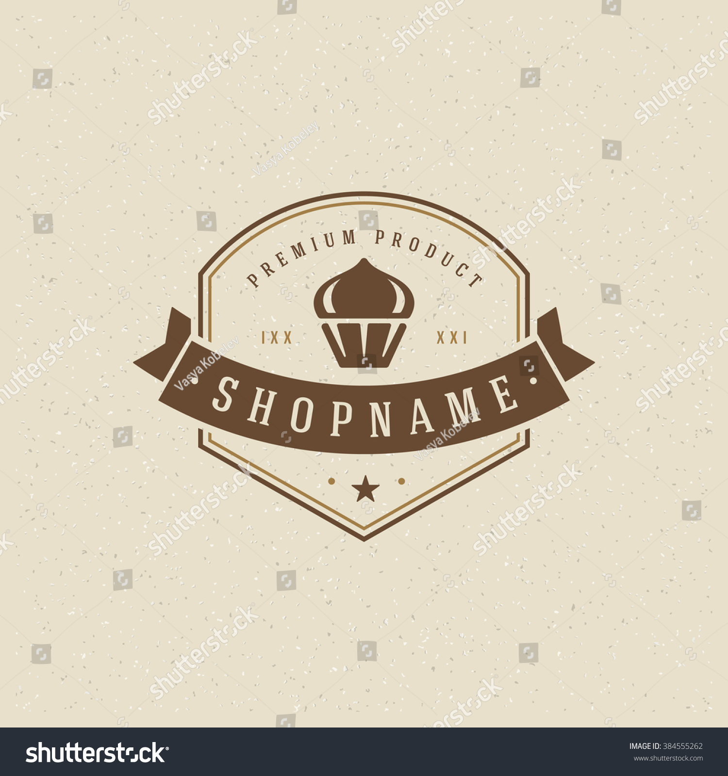 Bakery shop logo template vector design element vintage style for logotype label badge emblem cupcake silhouette bakery label baker logo cake icon