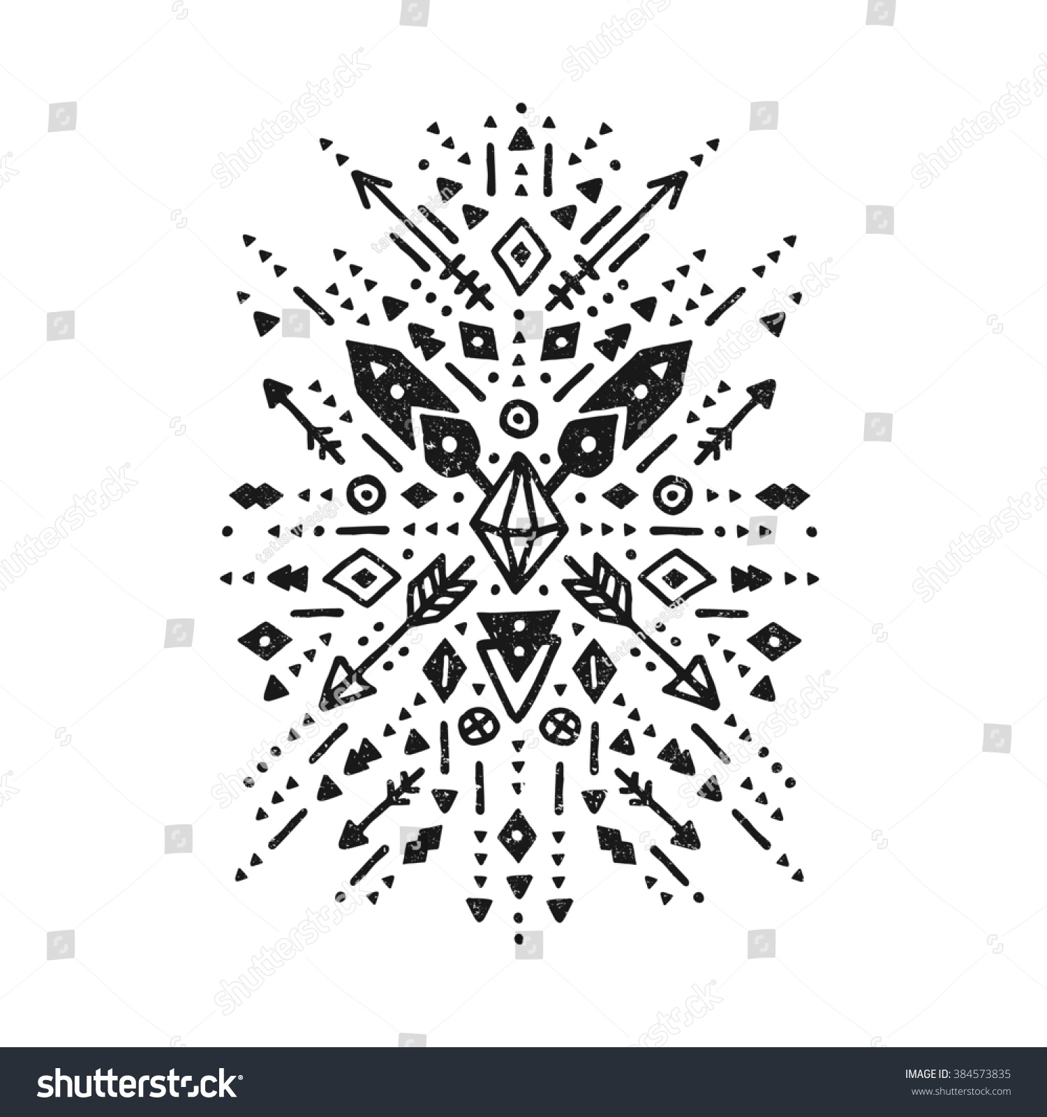 Hand drawn tribal sign arrow feathers stock illustration 384573835 hand drawn tribal sign with arrow feathers and geometric symbols ethnic aztec style biocorpaavc Gallery