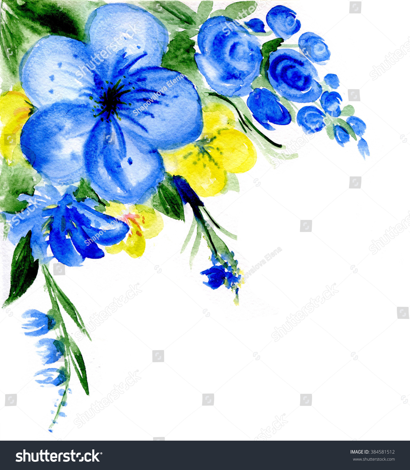 Watercolor Dark Blue Yellow Flowers Stock Illustration 384581512
