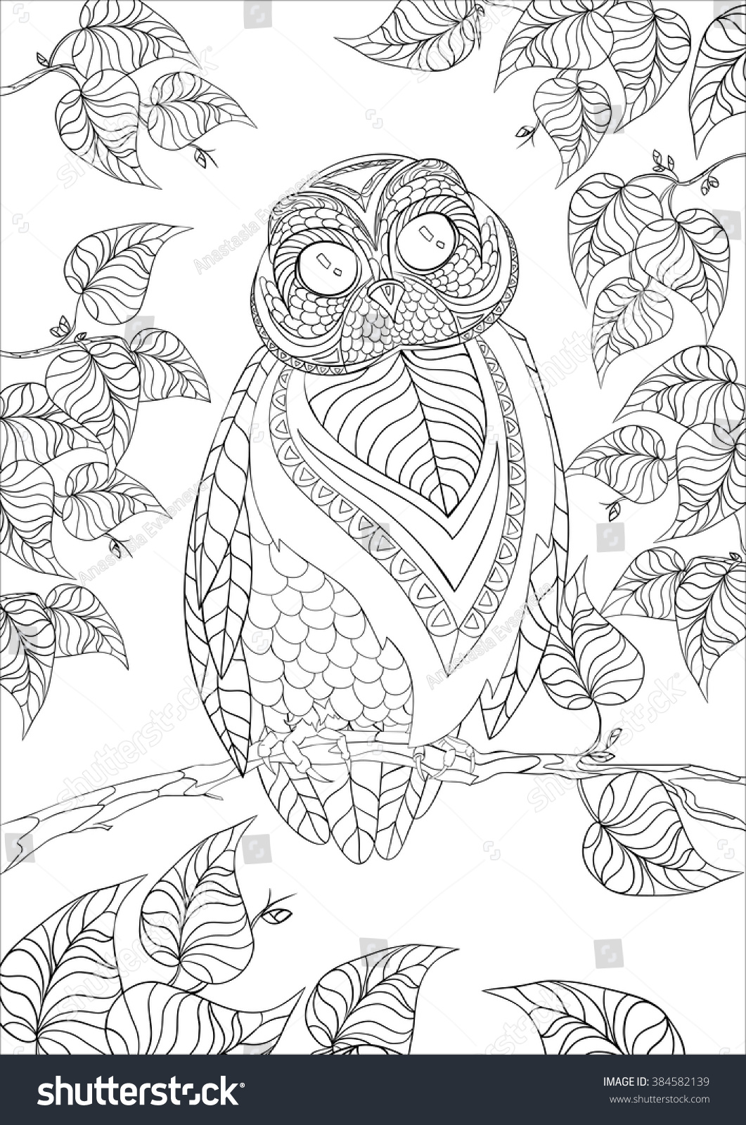 A4 Vector Monochrome Zentangle Stylized Abstract Owl On A Tree Branch With Leaves And Flora Art Color Therapy Anti Stress An Antistress Coloring Book
