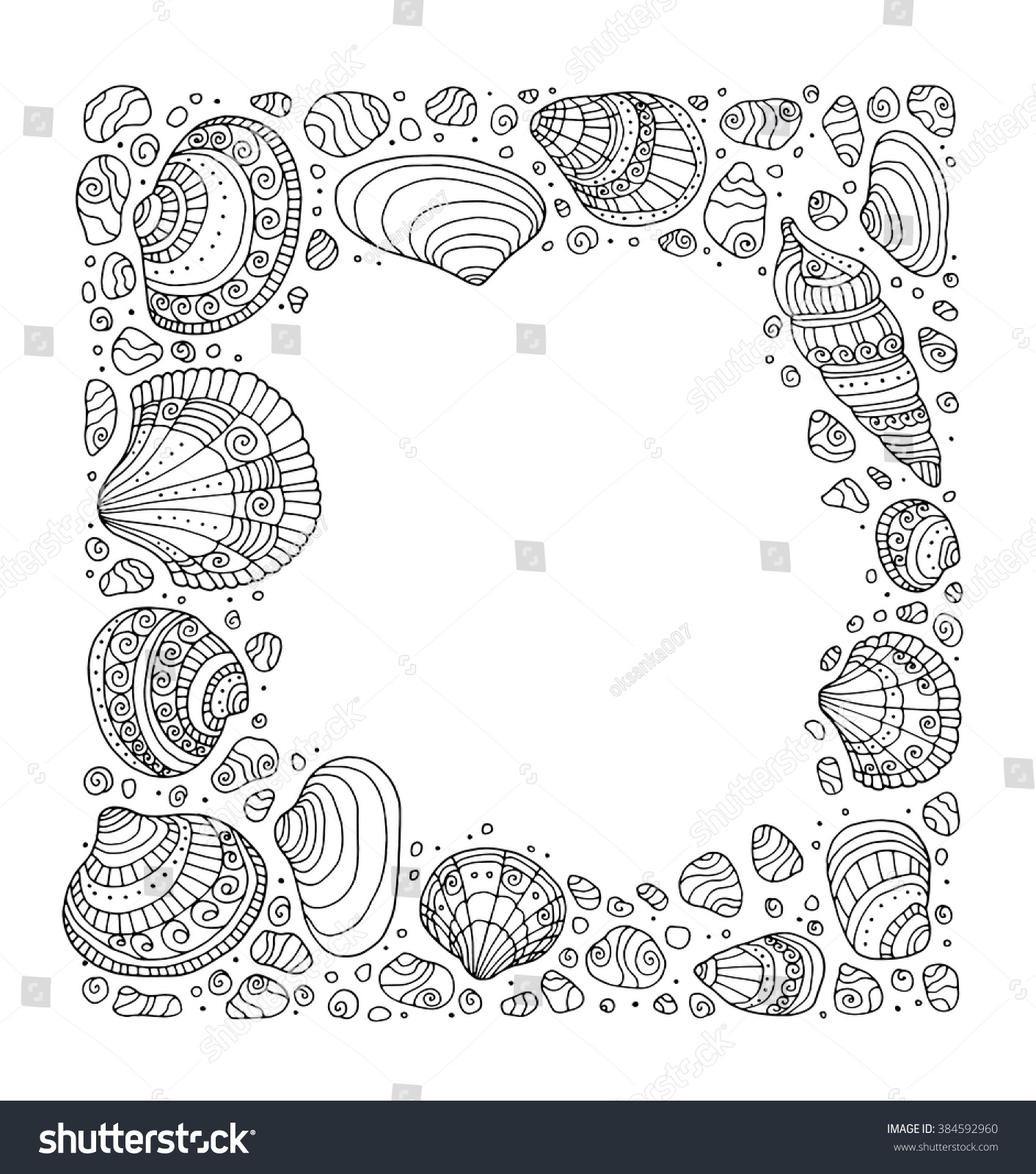 Zen ocean colouring book - Seashell Border Frame Ocean Pattern Vector Vintage Illustration Zentangle Coloring Book Page