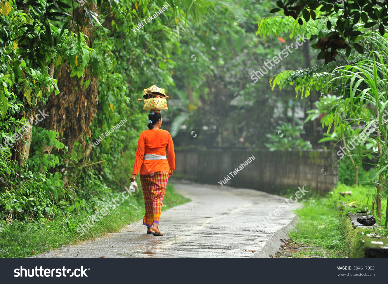 Balinese Kebaya Women Village Bali Indonesia Stock Photo