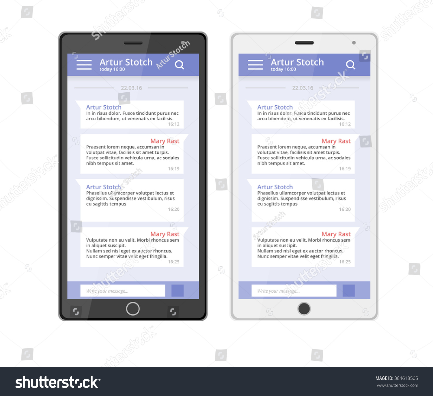 Ux Design Chat Phone Chat Interface Stock Vector 384618505 ...