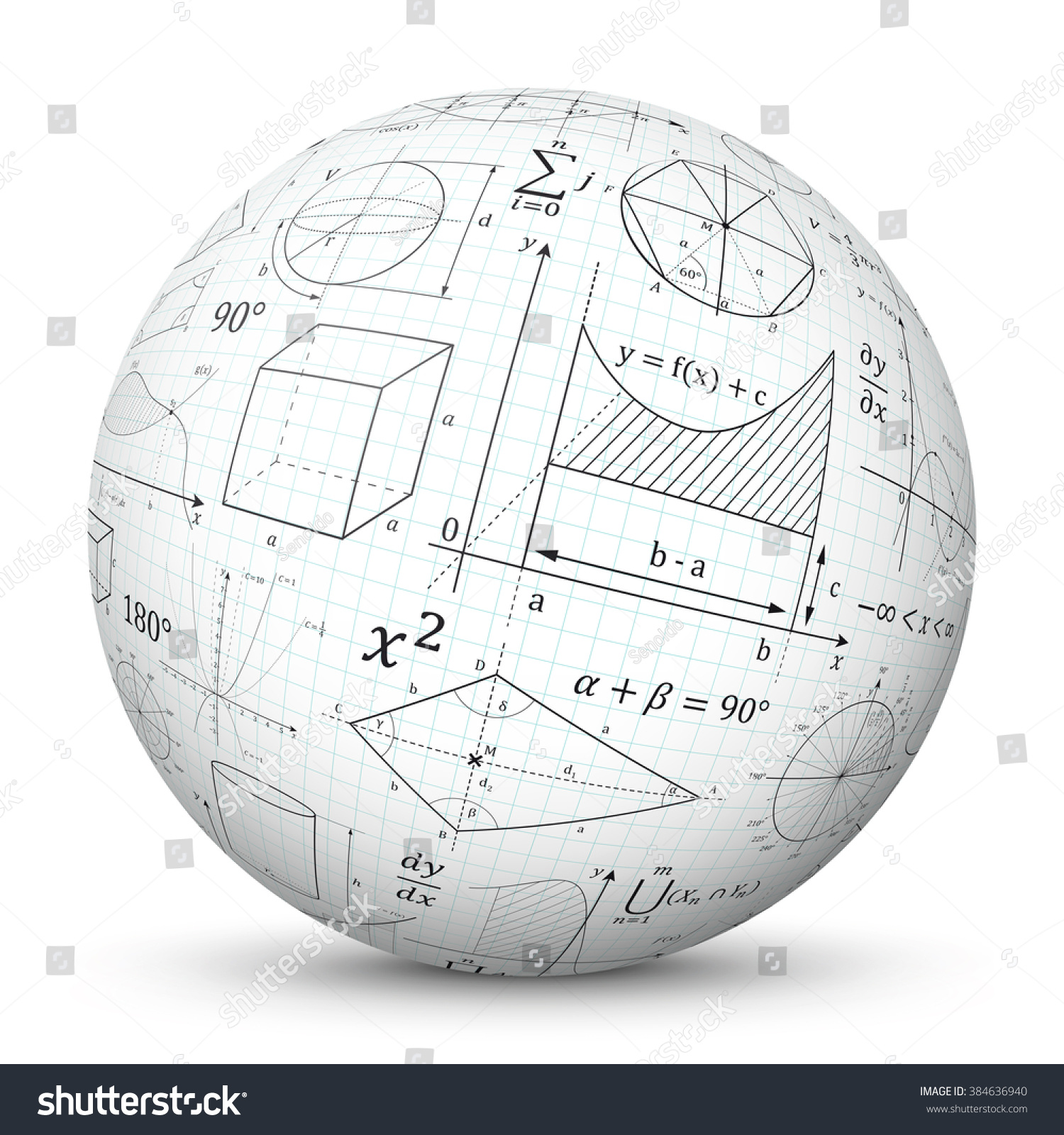 White 3d Vector Sphere Graph Paper Stock Vector 384636940