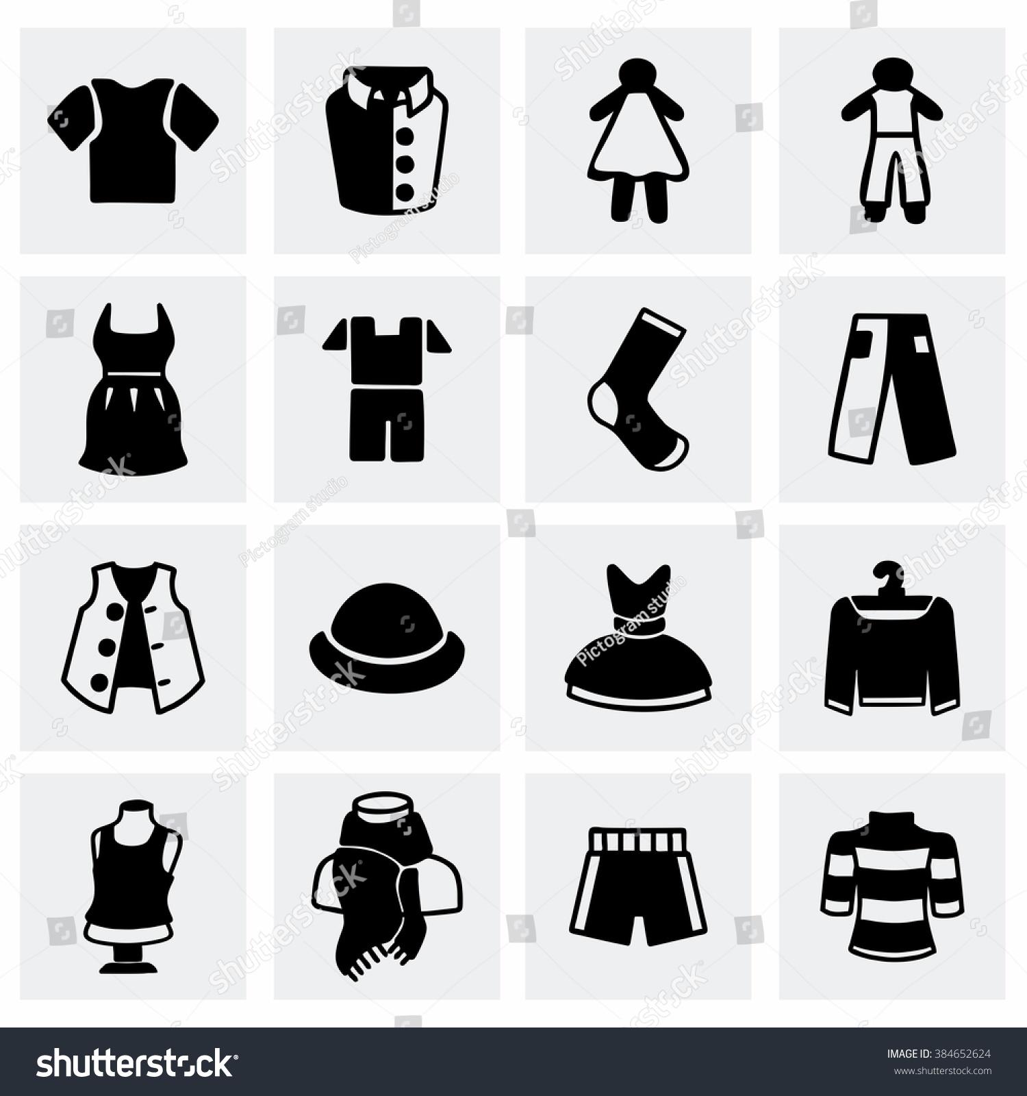 Vector clothes icon set stock vector 384652624 shutterstock vector clothes icon set buycottarizona