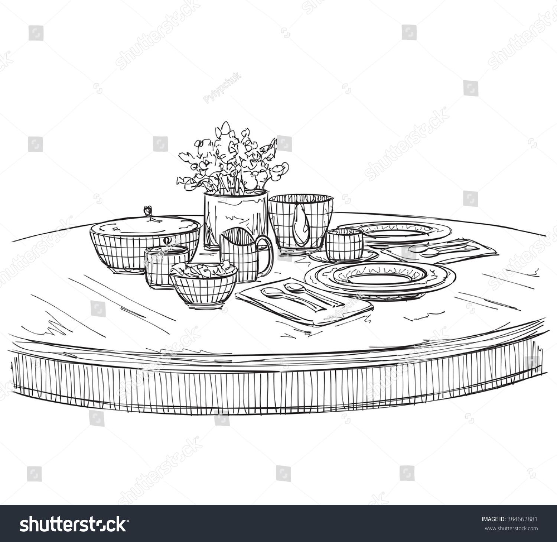 Table Setting Set Weekend Breakfast Dinner Stock Vector 384662881 ...