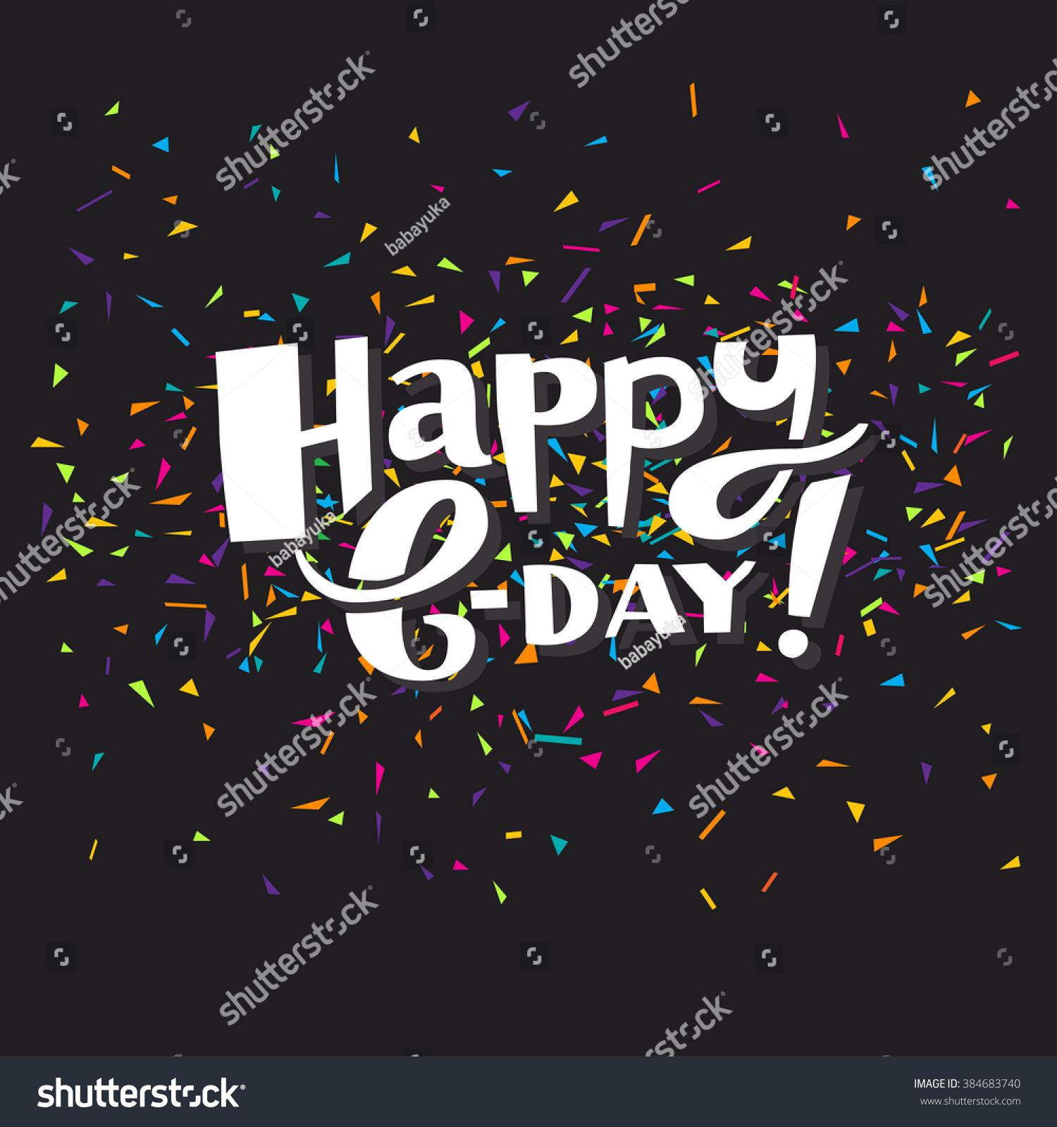 Holiday Wishes Message Happy Bday Vector Hand...