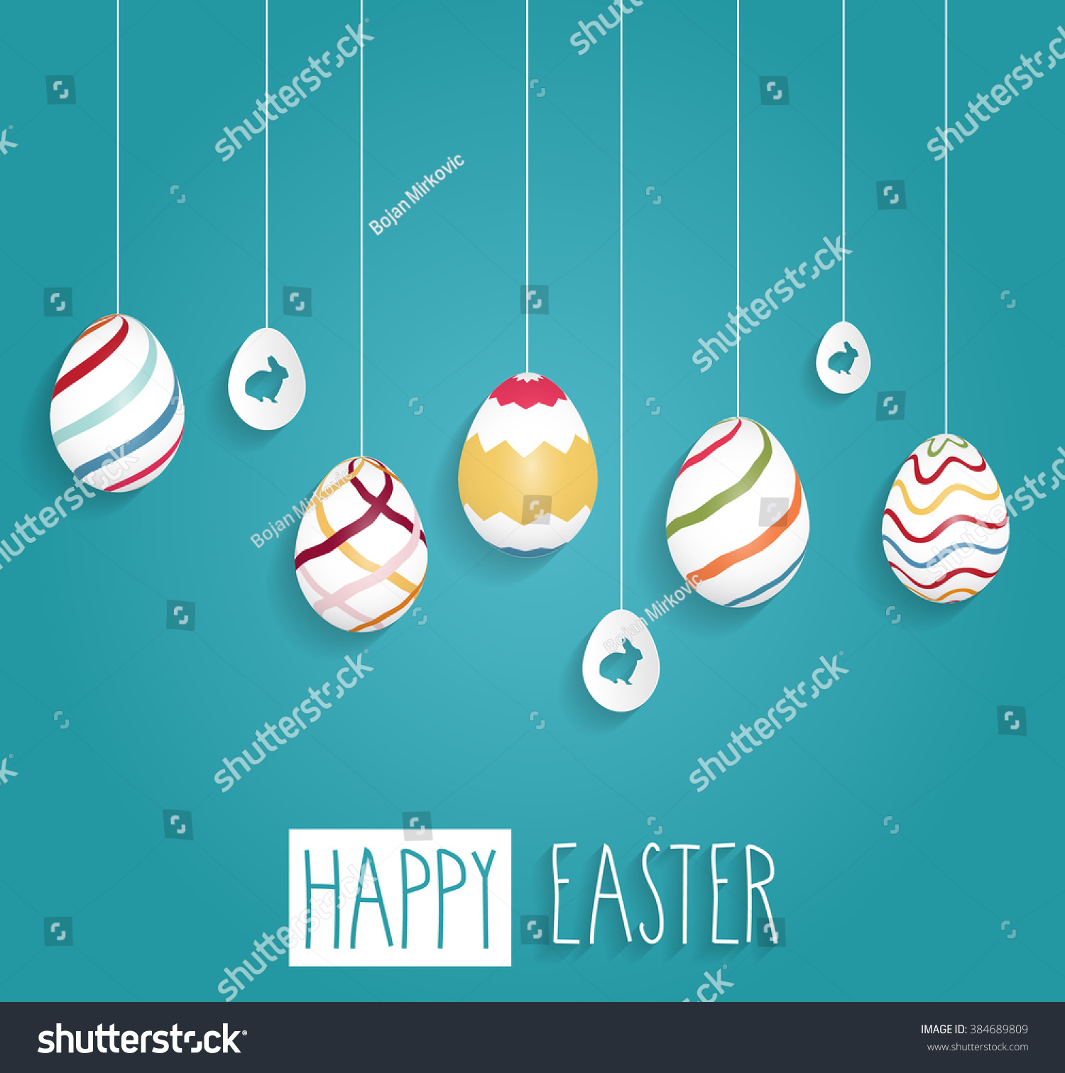 easter poster hanging eggs on blue stock vector 384689809