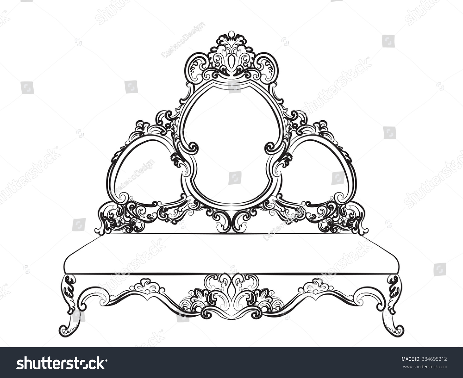 Rococo furniture sketch - Baroque Royal Style Furniture Rich Sofa Bench With Luxurious Ornaments Vector Sketch