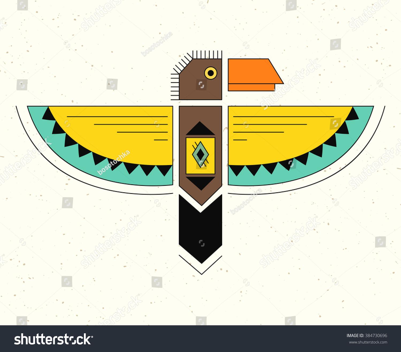 Linear Logo Thunderbird Native American Indian Stock Vector