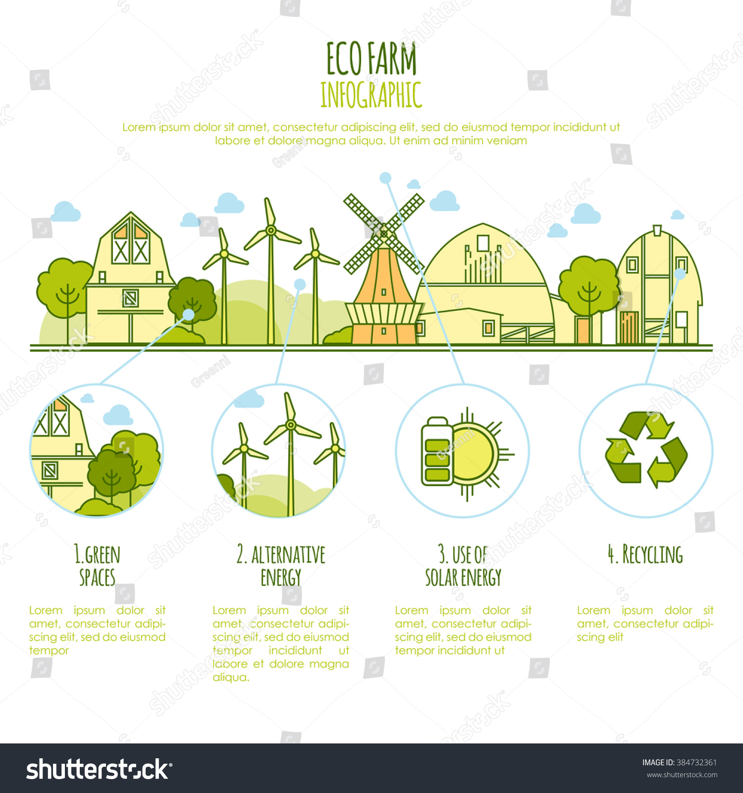 ecology farm infographic vector template thin stock vector royalty