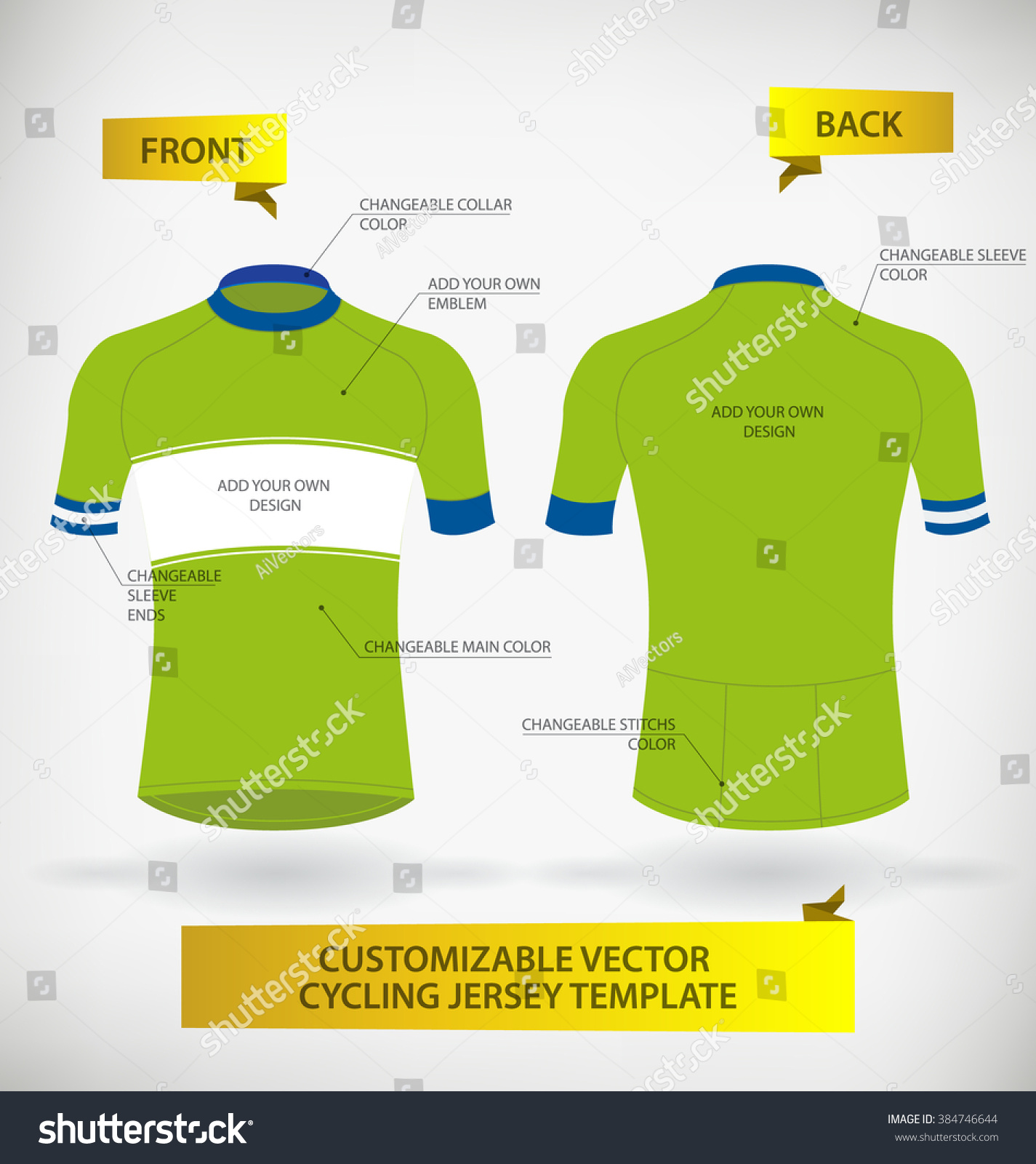 Design your own t-shirt and save it - Customizable Vector Cycling Jersey Template Preview Save To A Lightbox