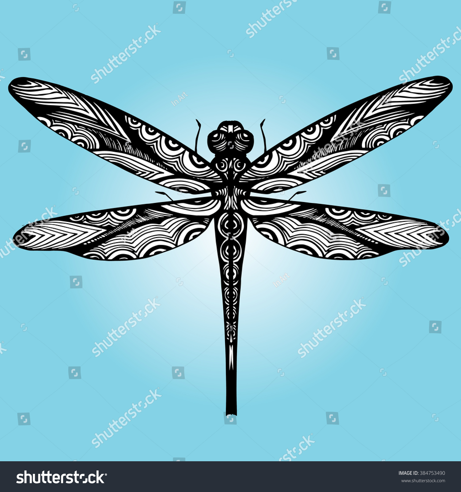 Dragonfly Tattoo Line Drawing : Dragonfly set line art tattoo black stock vector