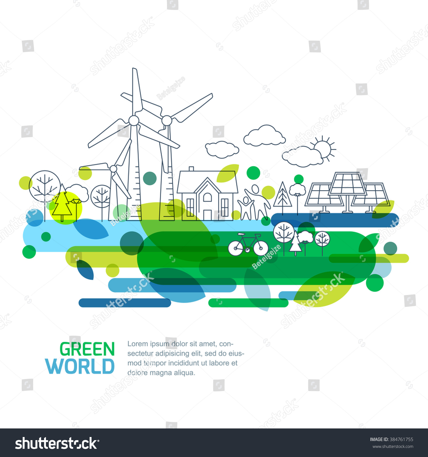 Environmental Concept Earthfriendly Landscapes: Green Landscape Illustration Isolated On White Stock