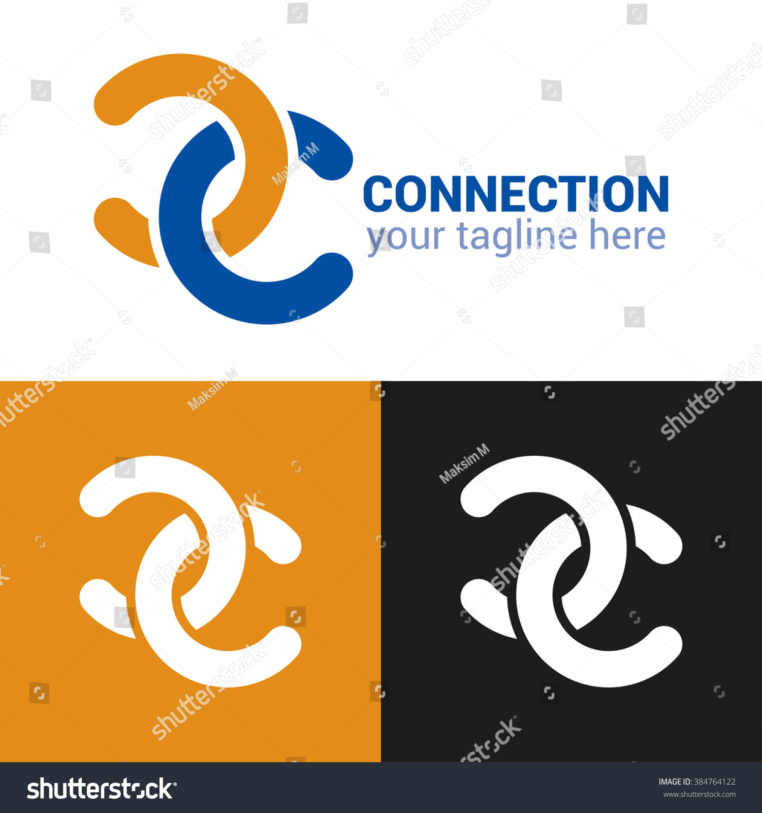 Connection Logo Template Abstract Double C Stock Vector 384764122