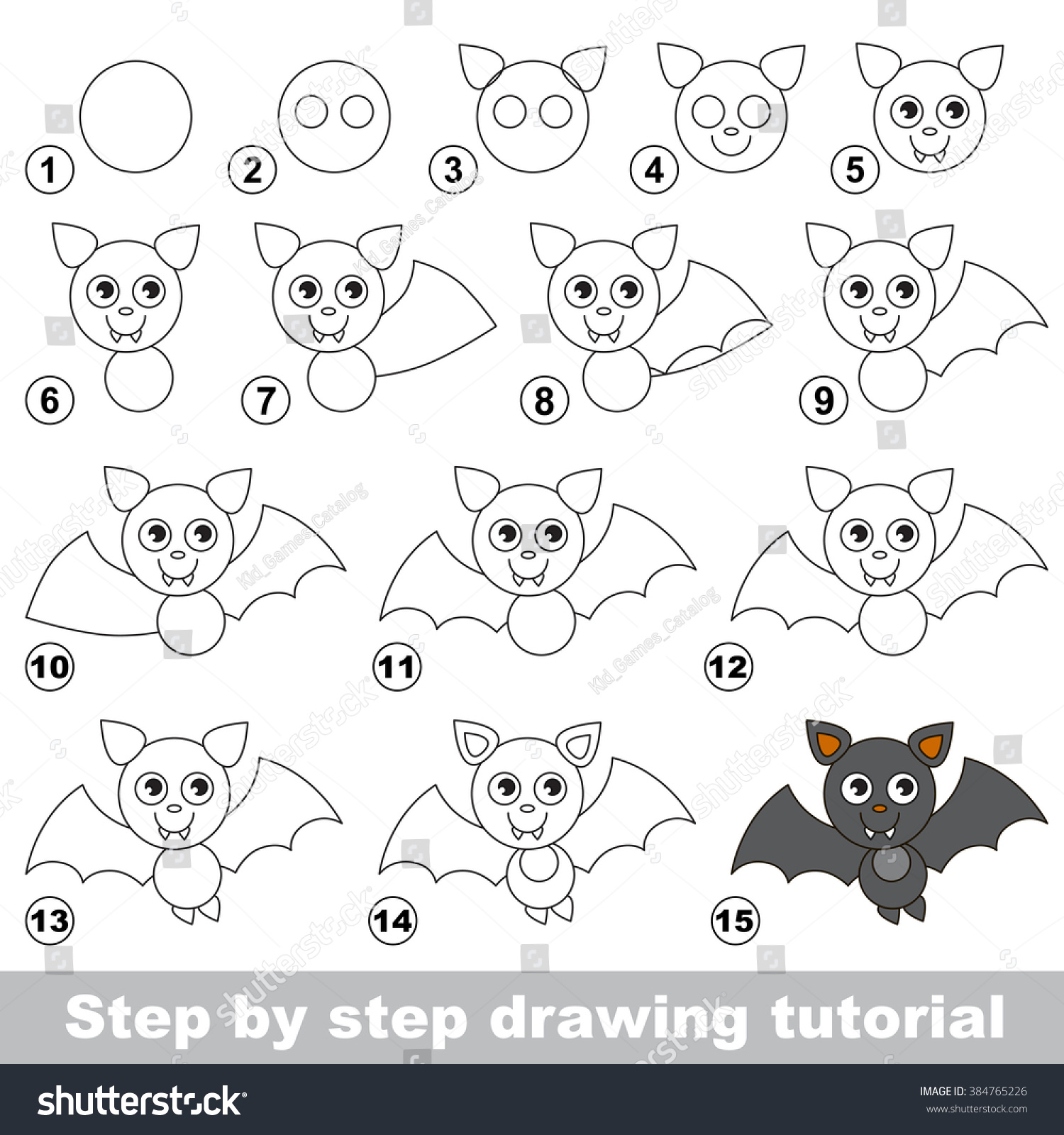 Vampire Bat Drawing Tutorial Stock Vector Royalty Free 384765226