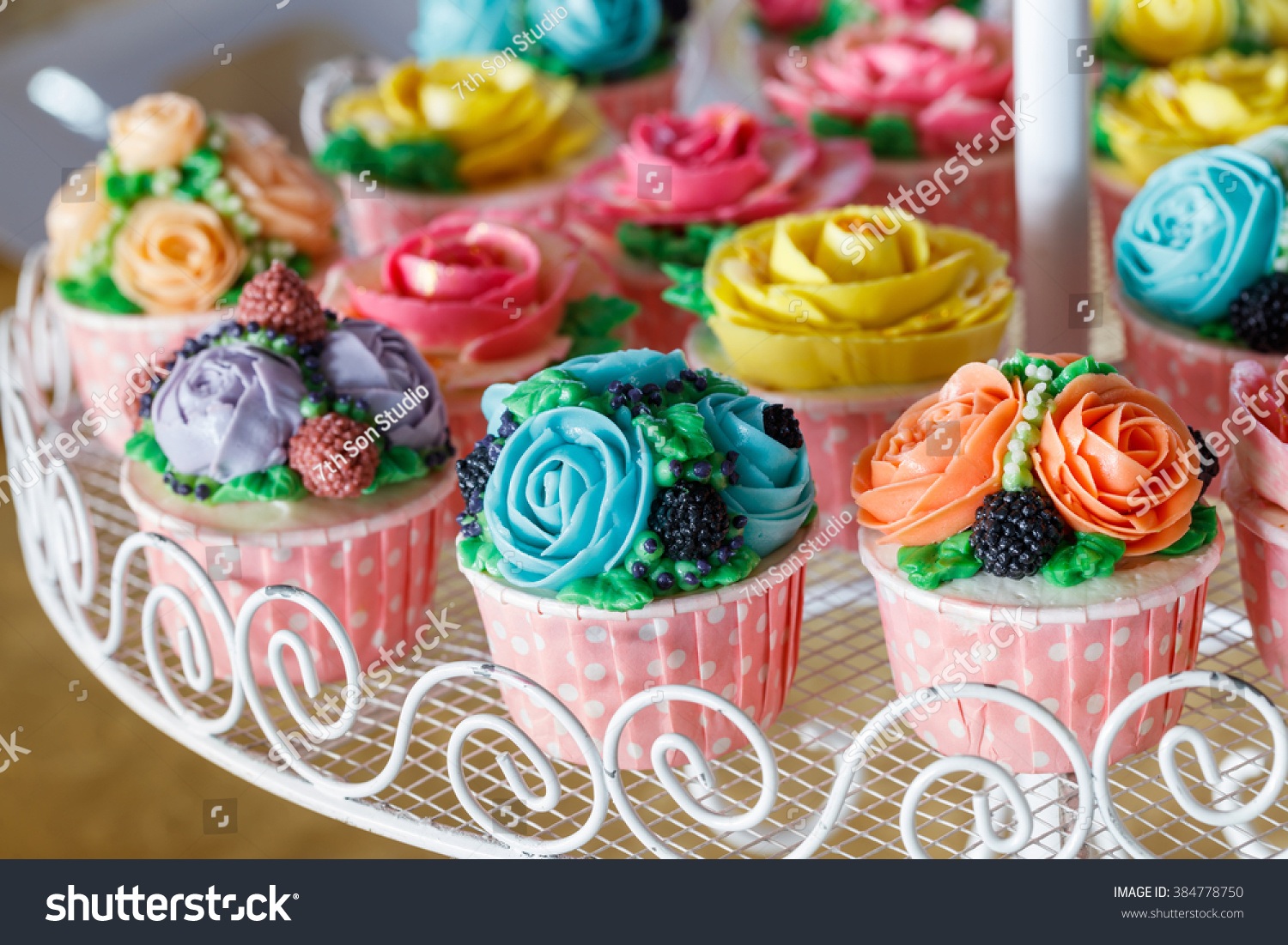 Beautiful cupcakes decorated flower colorful sweet stock photo edit beautiful cupcakes decorated with flower from colorful sweet butter cream izmirmasajfo