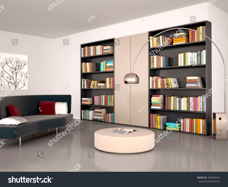 3d illustration of Modern reading room The