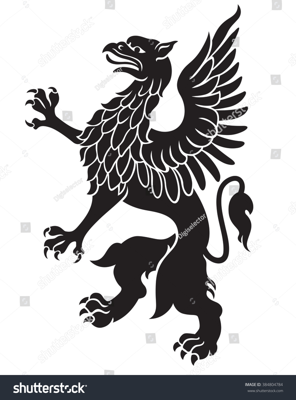 heraldic griffin black wings isolated on stock vector 384804784