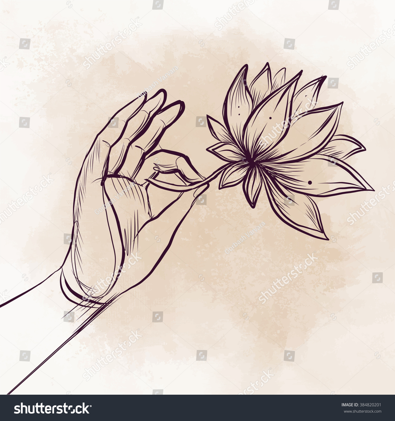 Lord buddhas hand holding lotus flower stock vector royalty free lord buddhas hand holding lotus flower vector illustration of mudra over beige retro background hindu izmirmasajfo