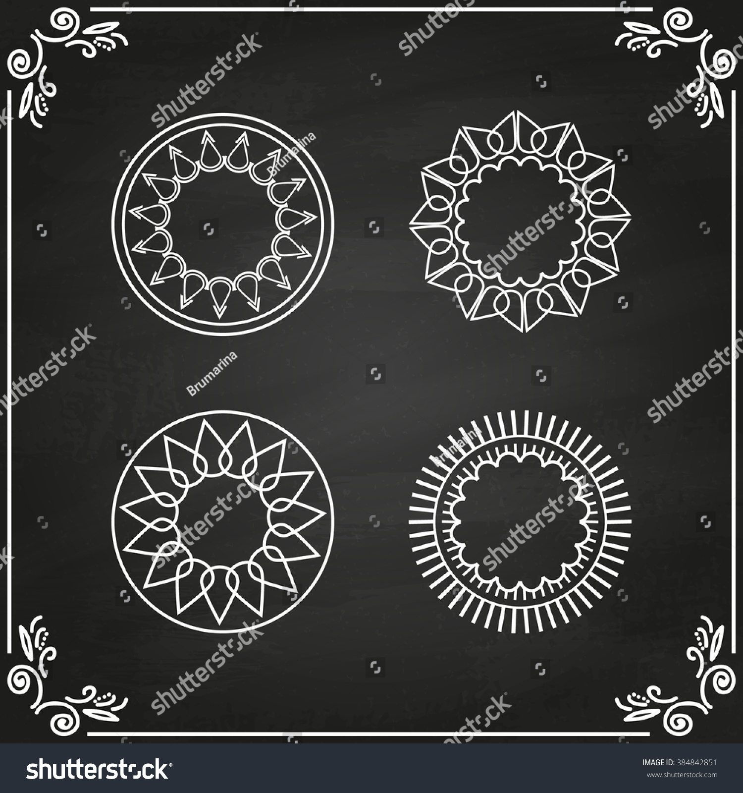 set abstract frames labels logo templates stock illustration