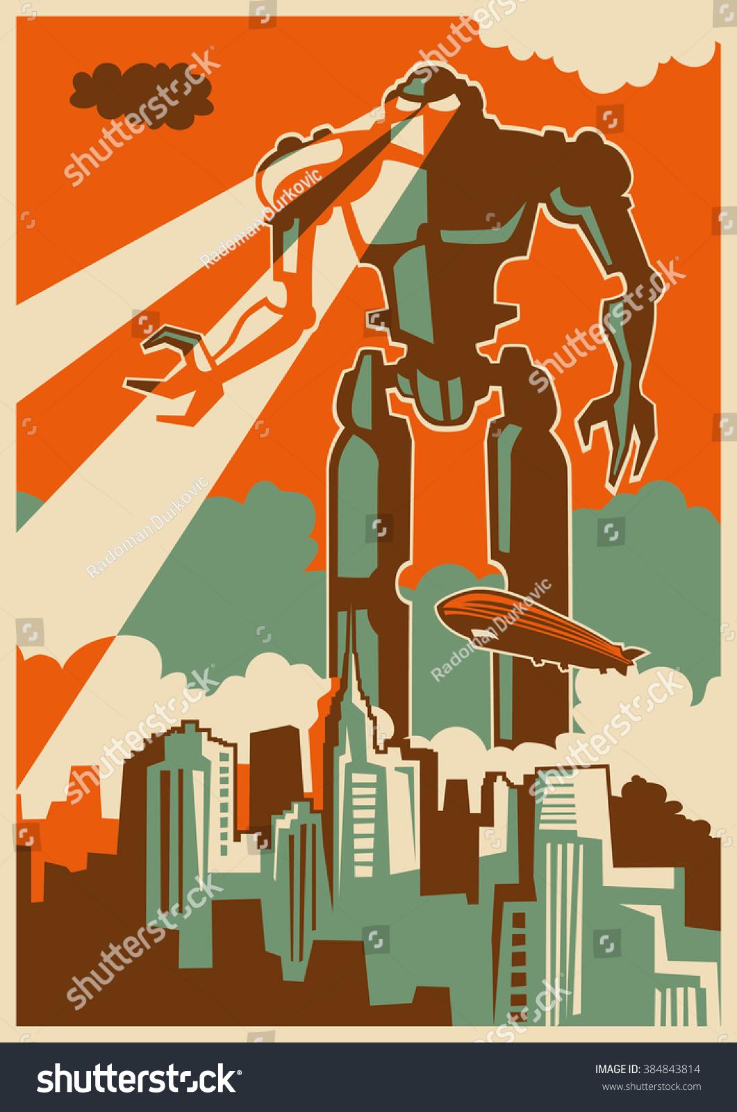 retro illustration giant robot vector illustration stock
