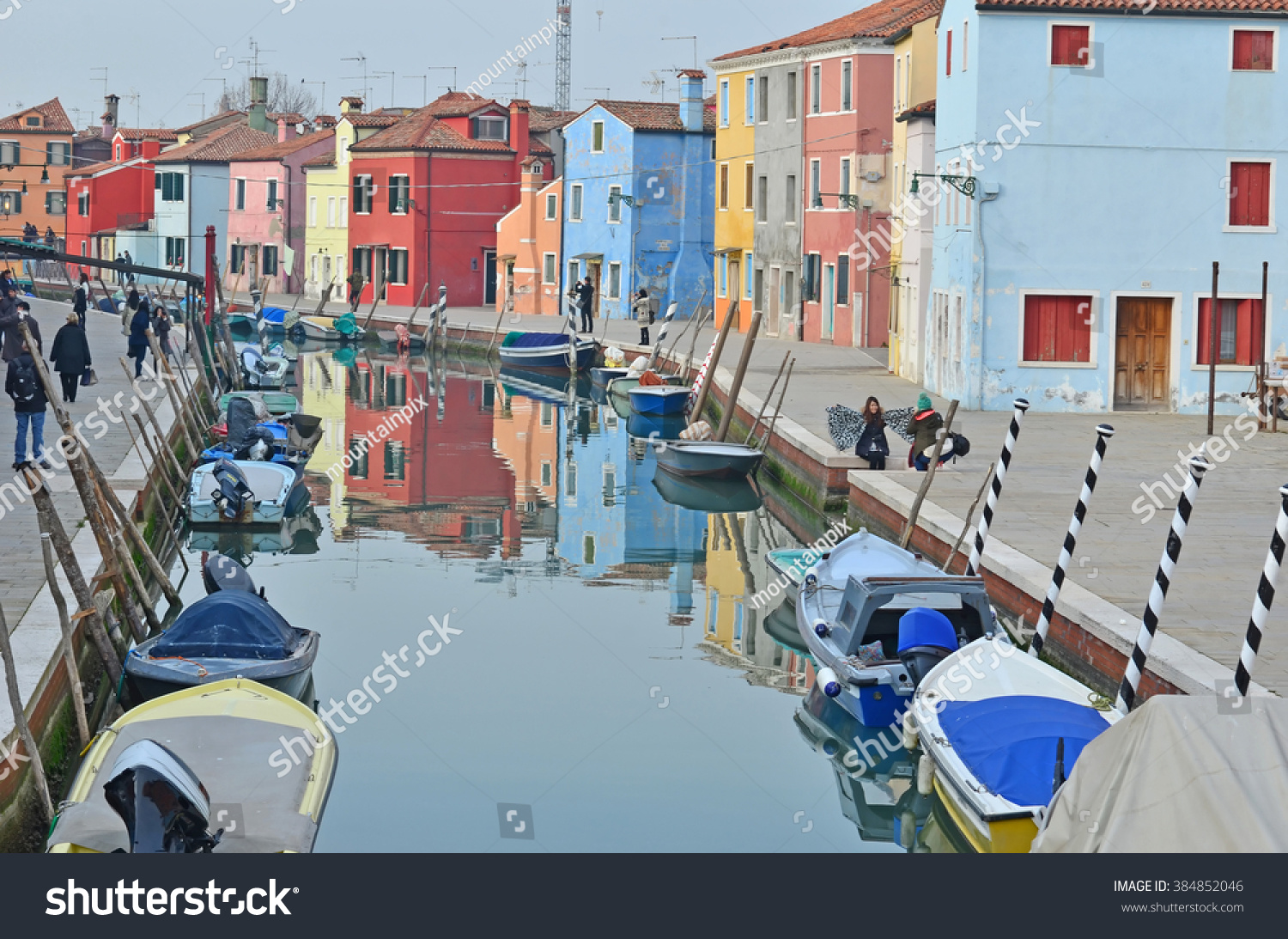 Colorful burano italy burano tourism - Burano Italy January 27 Tourists Enjoying The Colorful Houses Along The Canal On