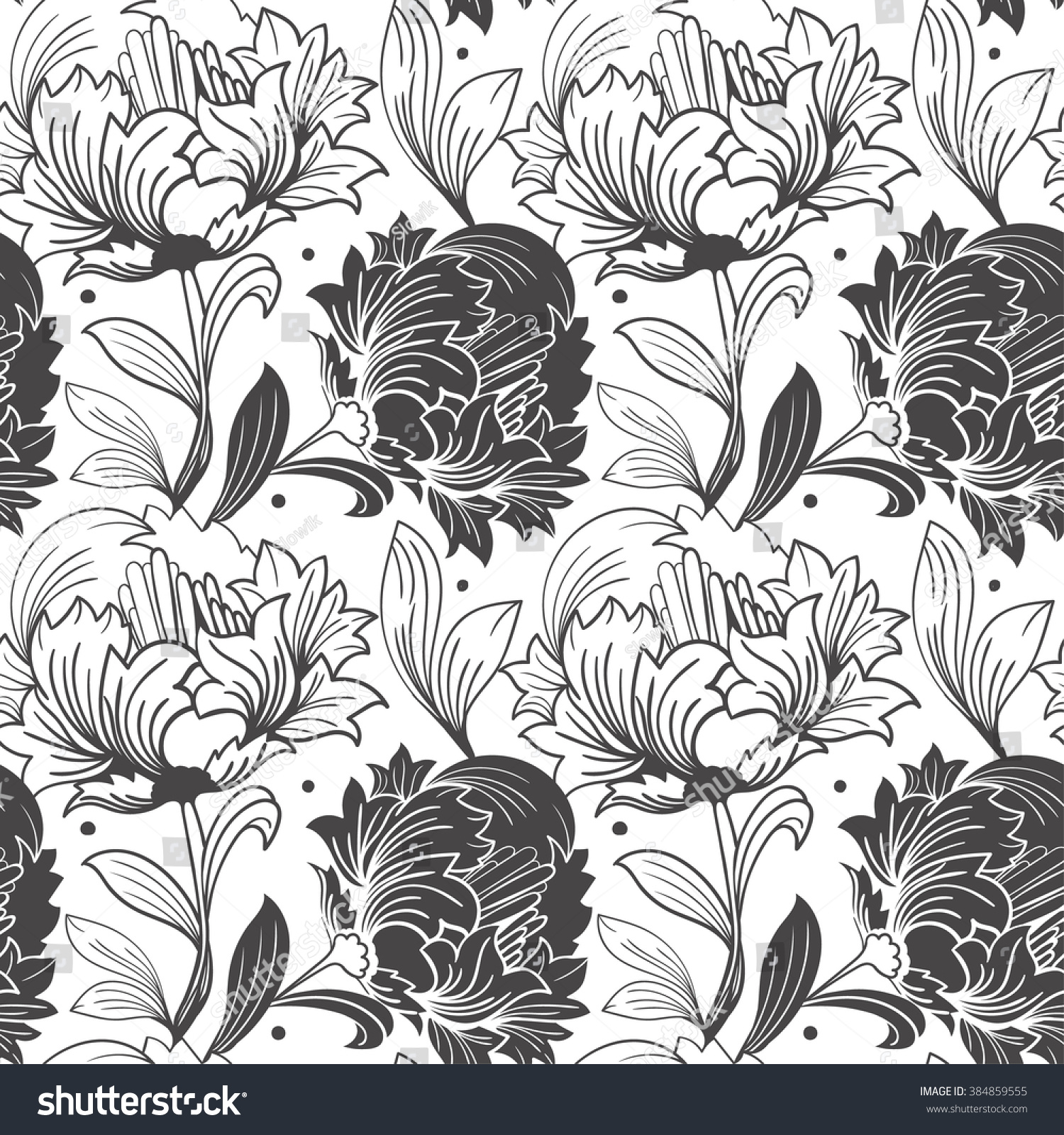 Seamless Pattern Tulips Blackandwhite Line Linear Stock Vector