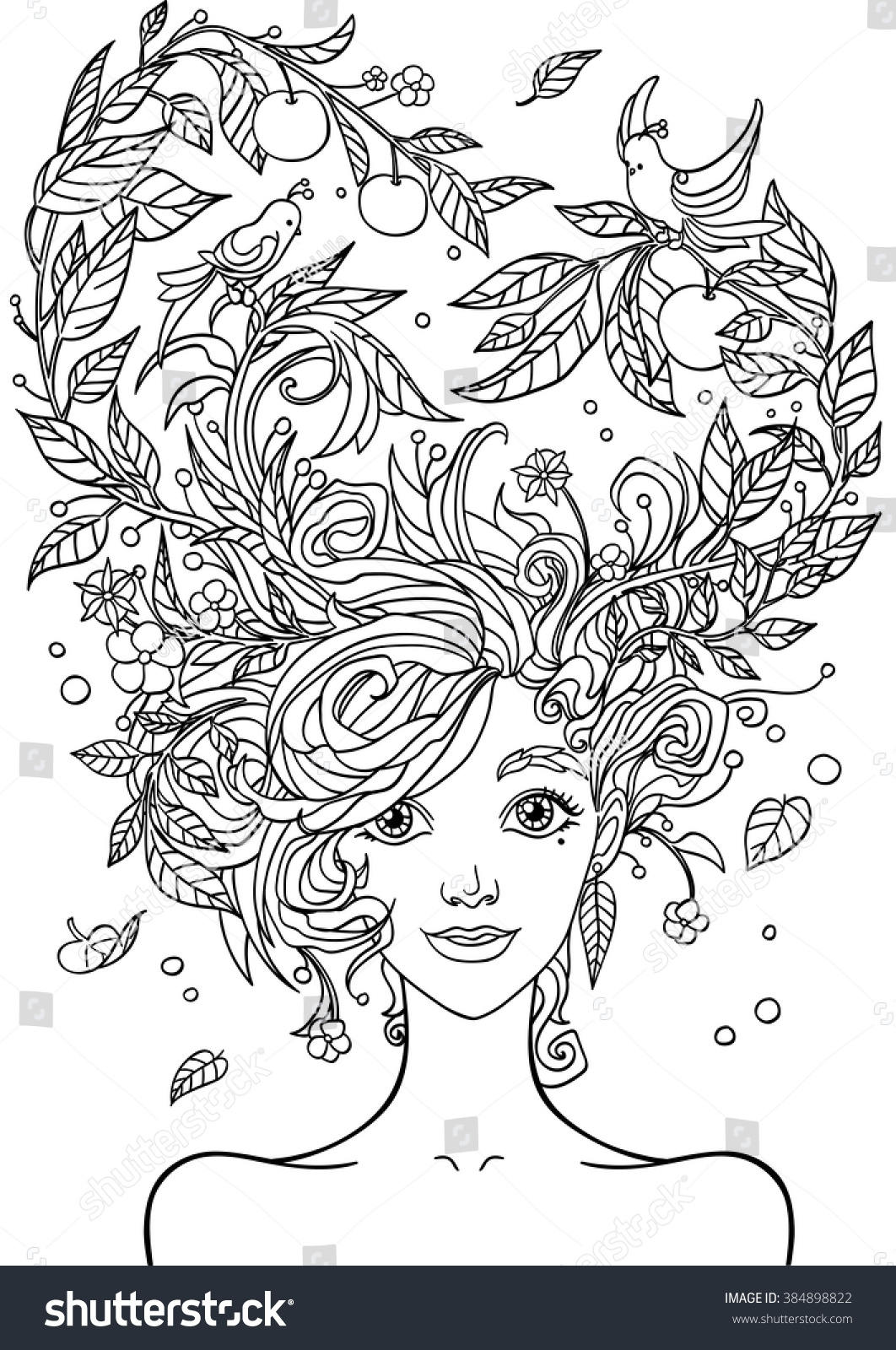 Pretty girl coloring pages - Print For The Adult Coloring Book Portrait Of A Beautiful Girl In Zentangle Style