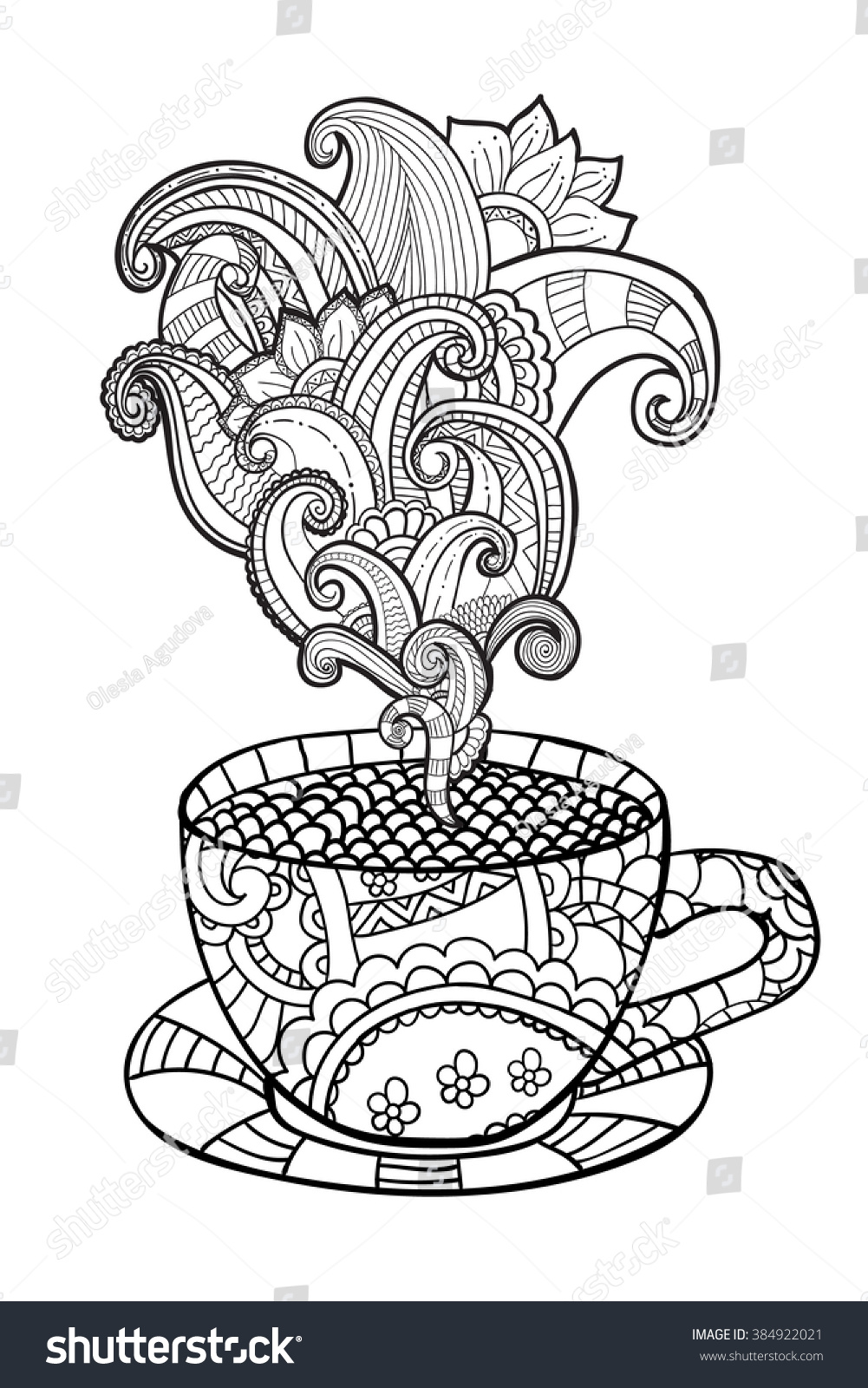 Owl In Tea Cup Coloring Pages