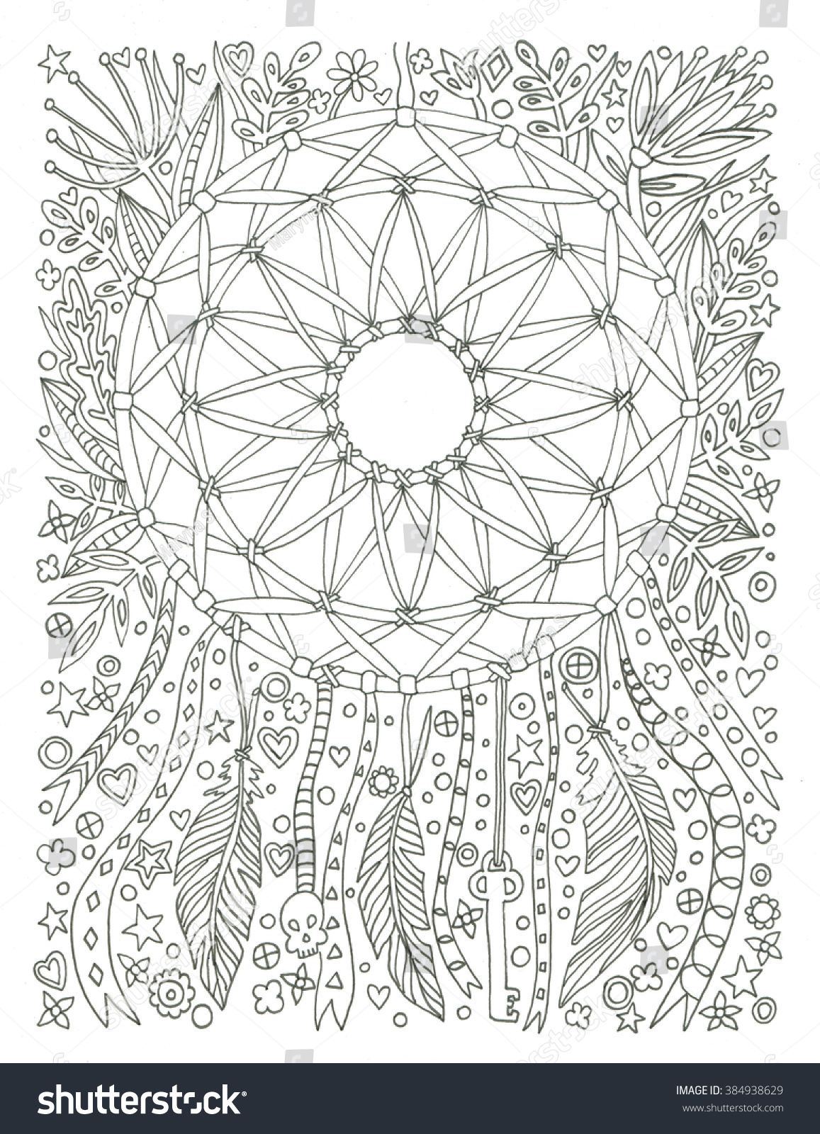 dream catcher coloring page stock illustration 384938629