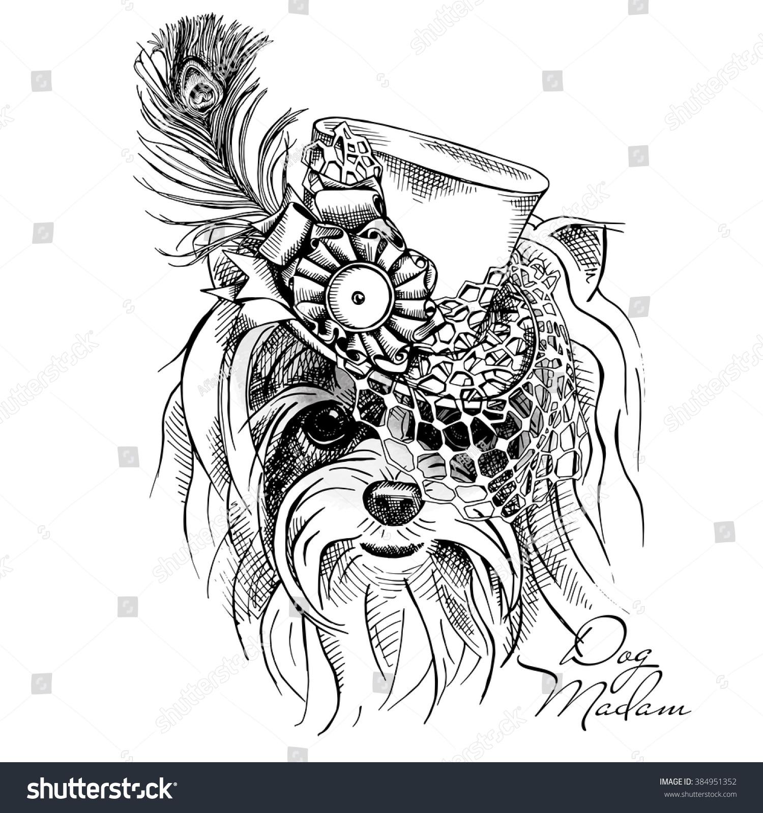 portrait yorkie hat net feather vector stock vector 384951352