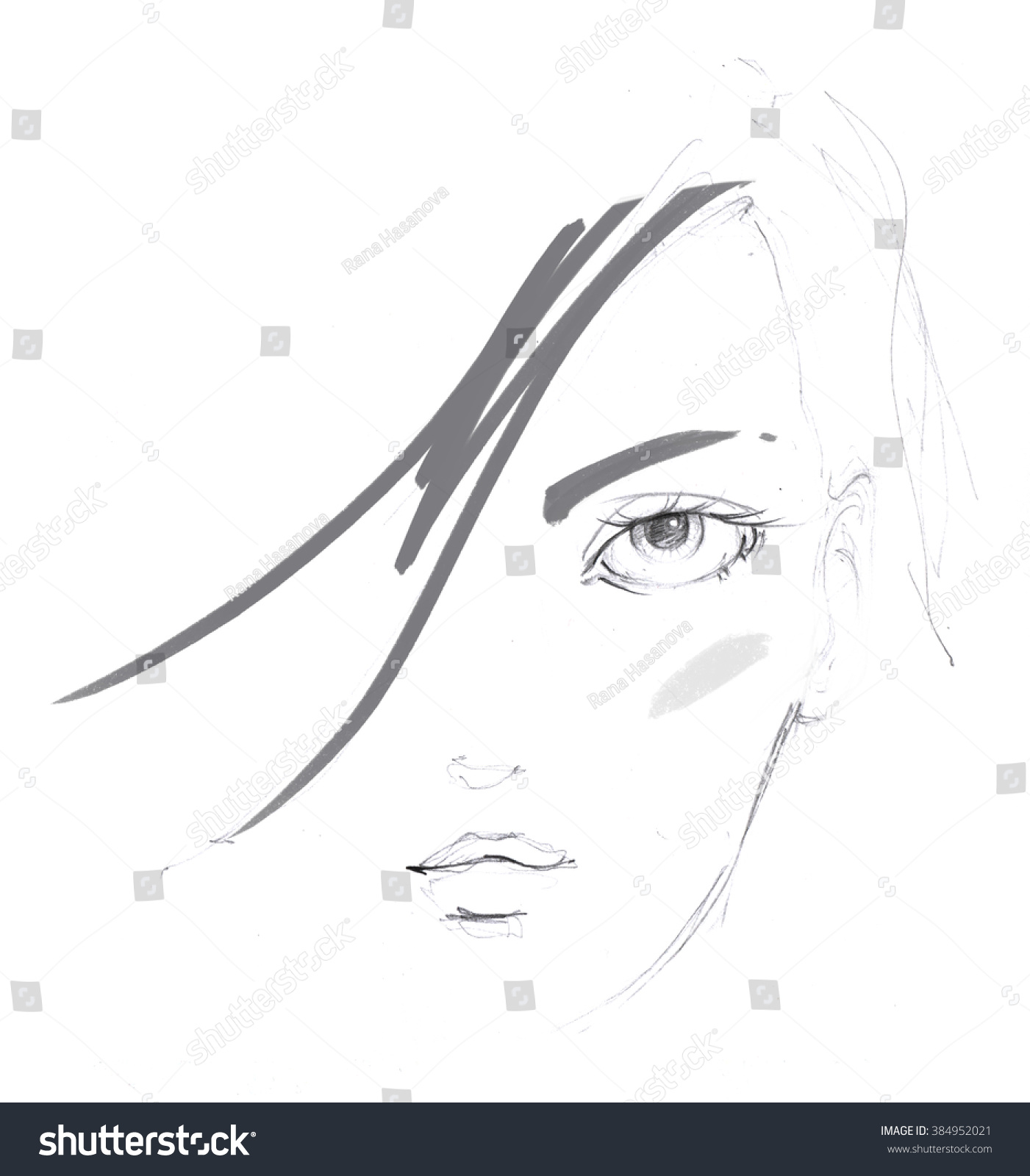 Fashion portrait drawing sketch illustration of a young woman face hand drawn fashion model face ink pencil womens day postcard illustration