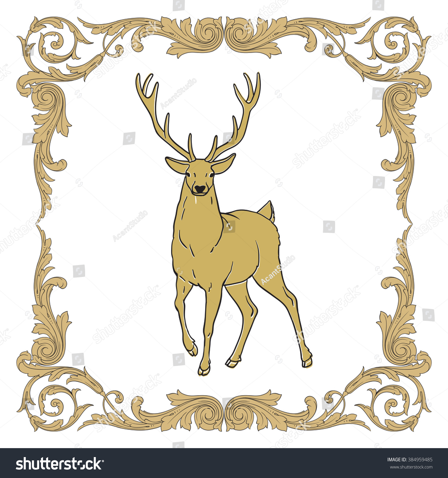 Deer Silhouette Icon Deer Silhouette Web Stock Photo (Photo, Vector ...