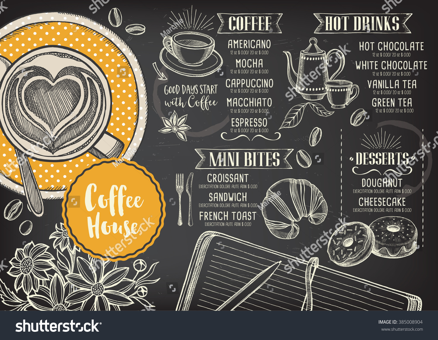 Coffee Restaurant Brochure Vector Coffee Shop Stock Vector